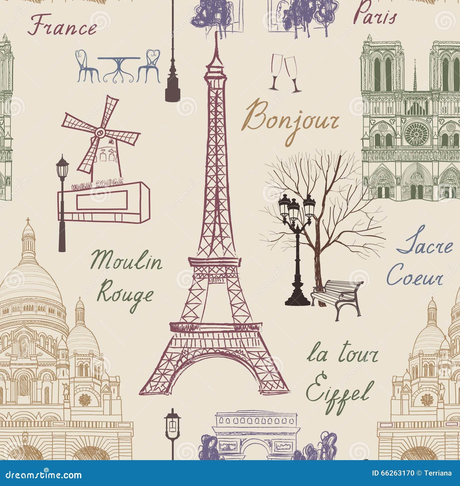 Nahtloses Muster Reise Paris Ferien In Europa Tapete Stock Abbildung
