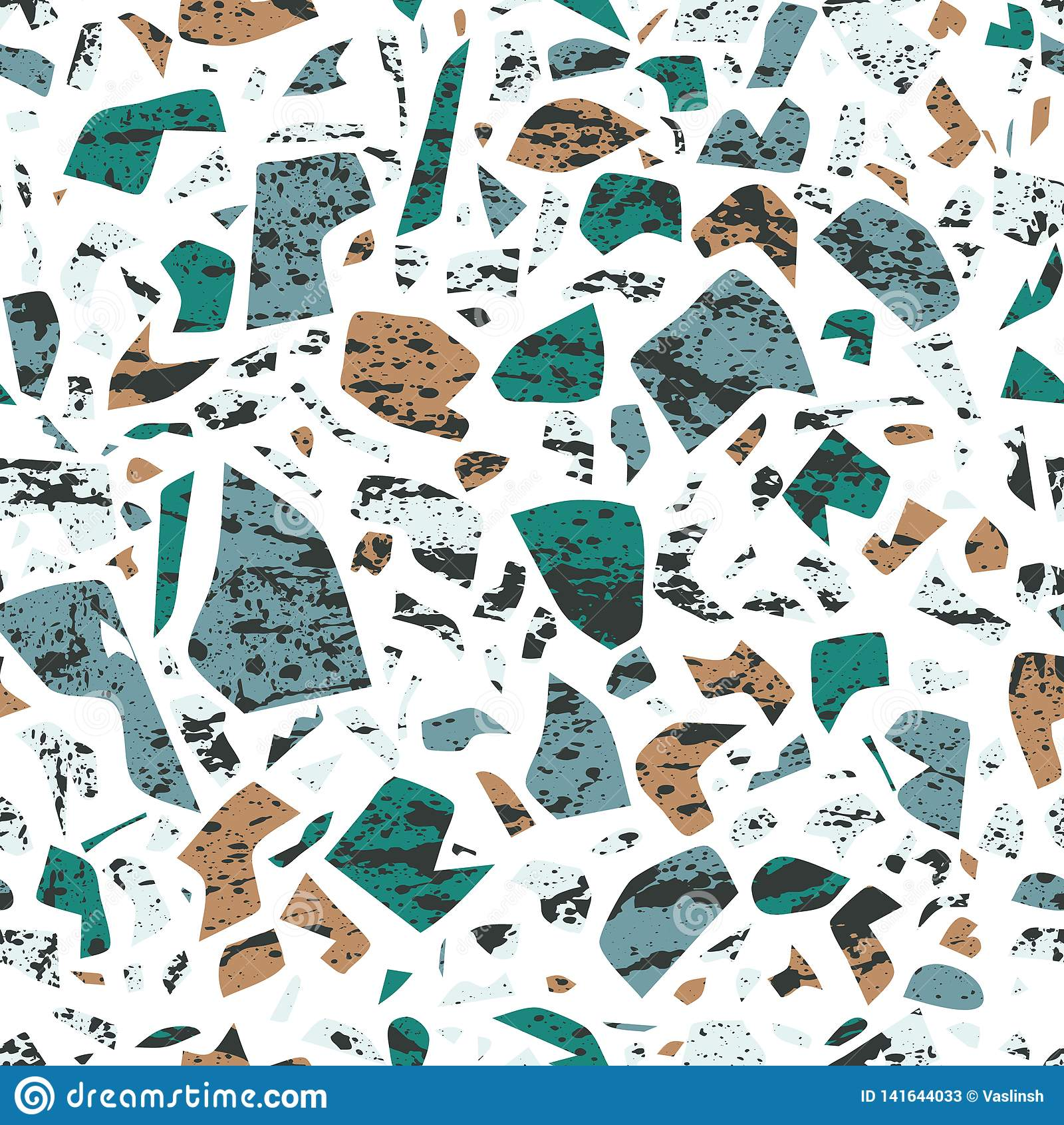 Nahtloses Muster Vektor Terrazzo, Wandhintergrund mit chaotischen Flecken