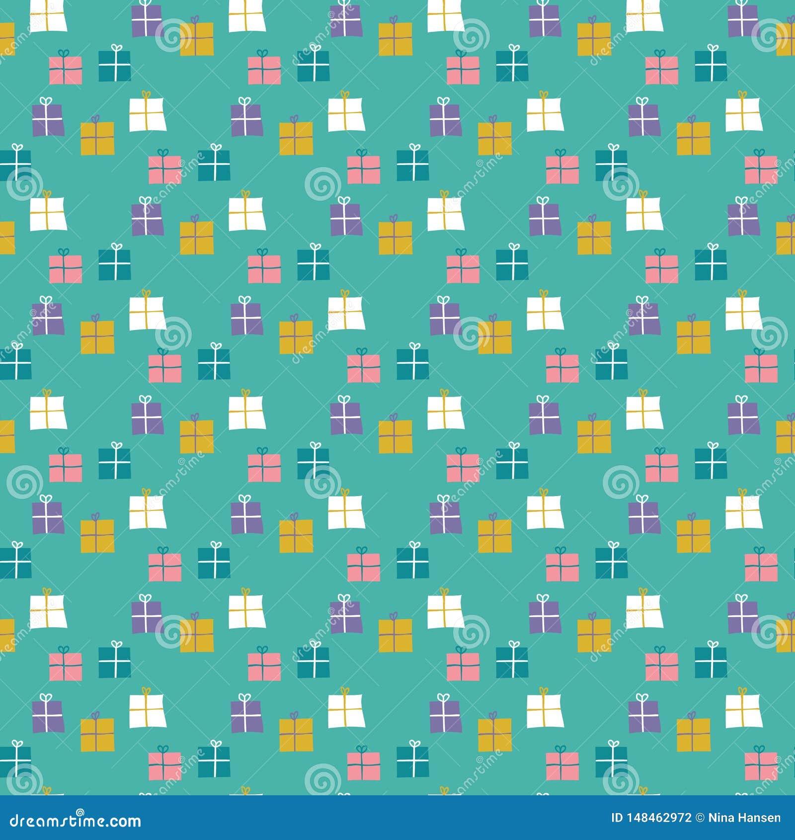 Nahtloses Muster von eingewickelten Geschenken auf einem tadellosen gr?nen Hintergrund