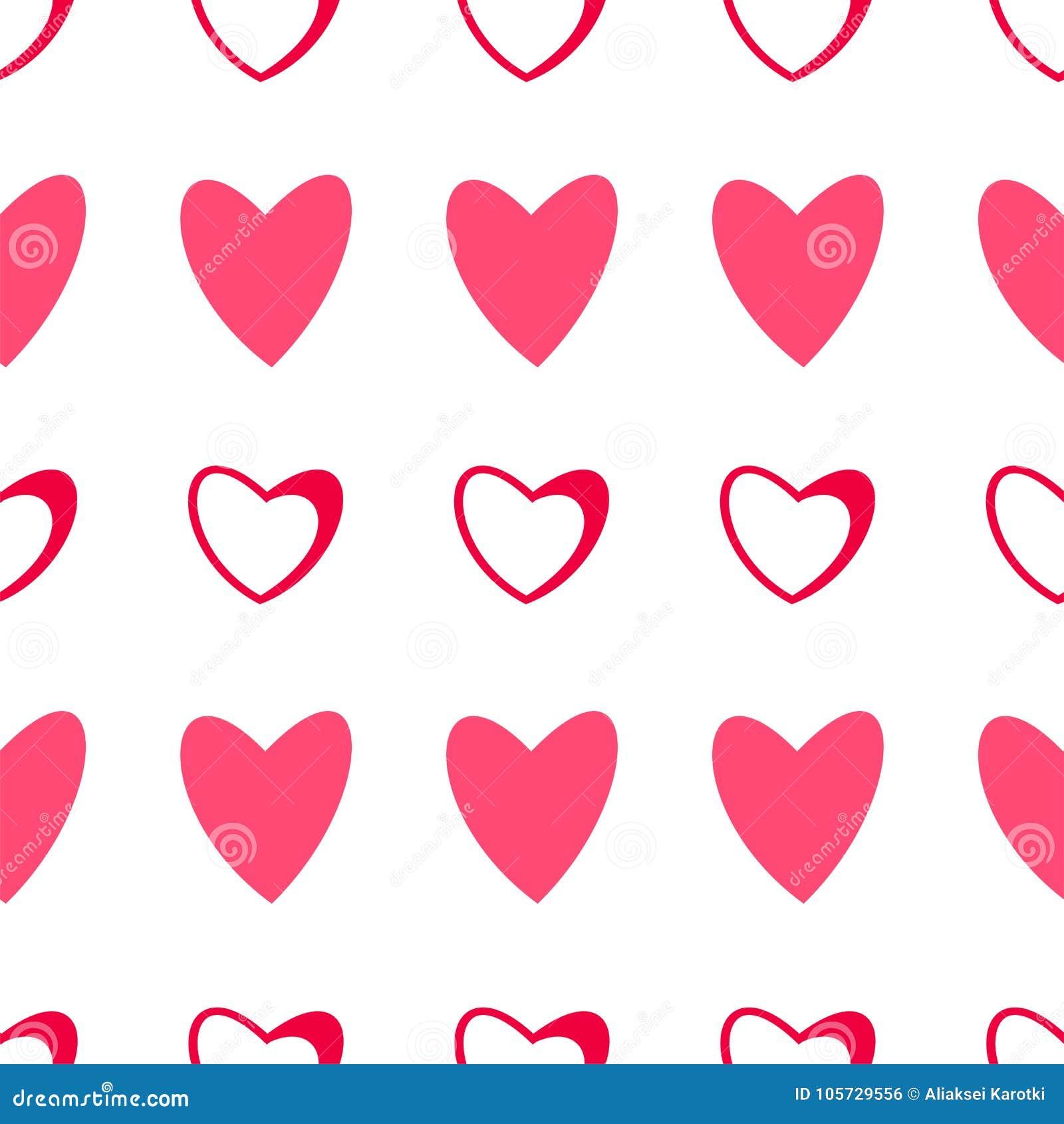 Nahtloses Muster Von Herzen Auf Einem Weissen Hintergrund Fur
