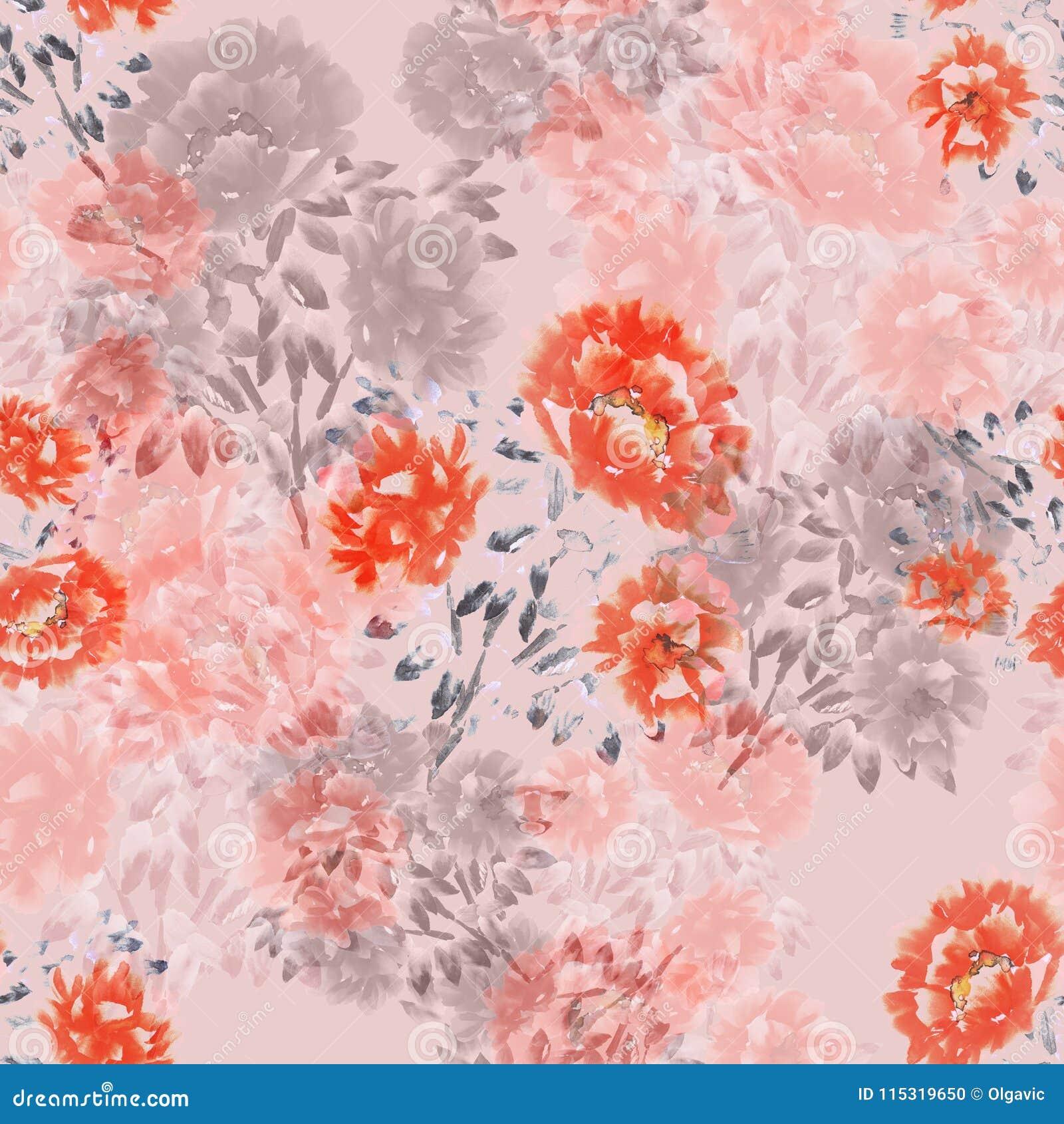Nahtloses Muster von roten, rosa, beige Blumen von Pfingstrosen auf einem hellrosa Hintergrund Ausführliche vektorzeichnung water