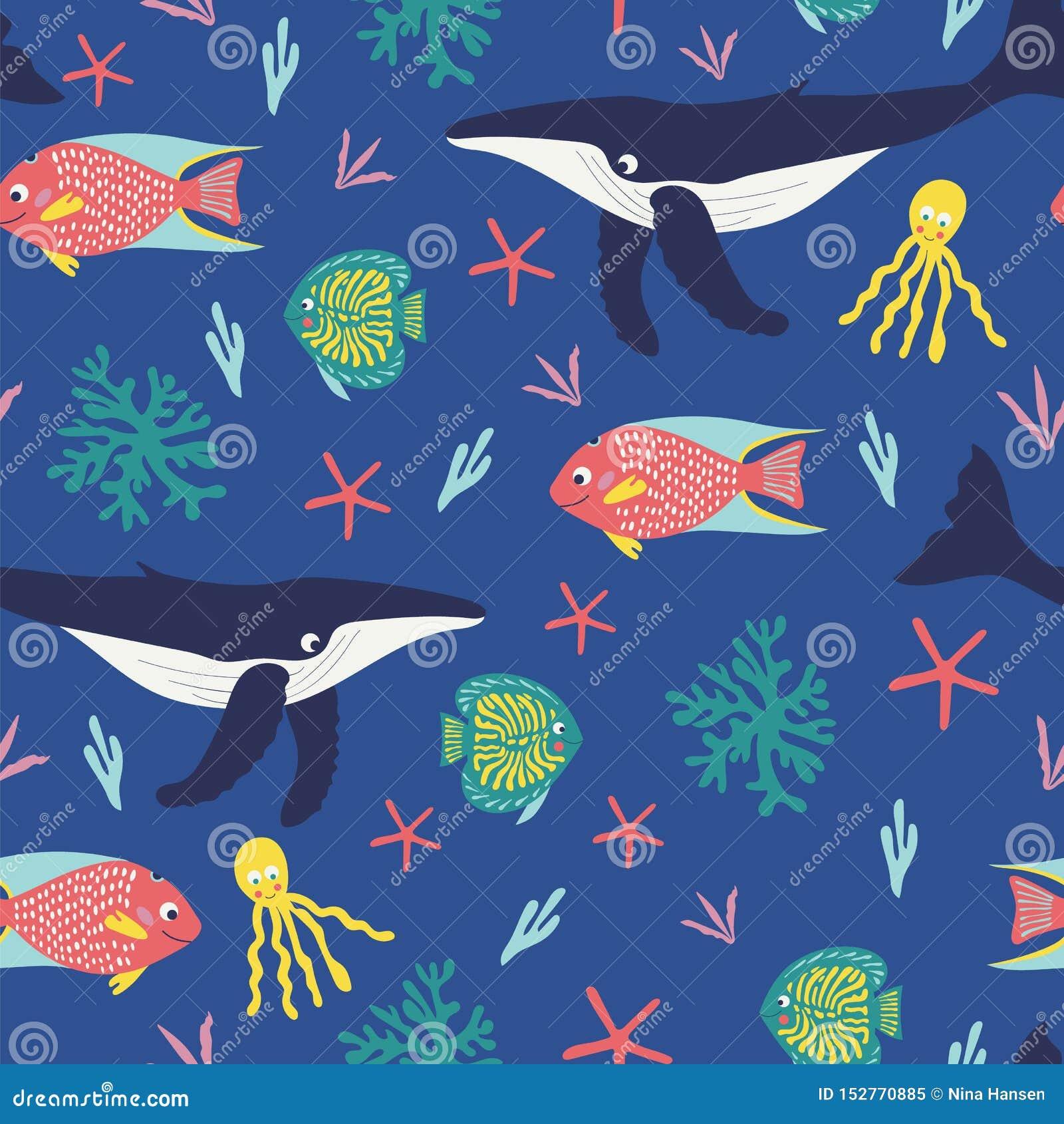 Nahtloses Muster von spielerischen humback Walen, von glücklichen tropischen Fischen, von octapus und von hellen Korallen auf ein