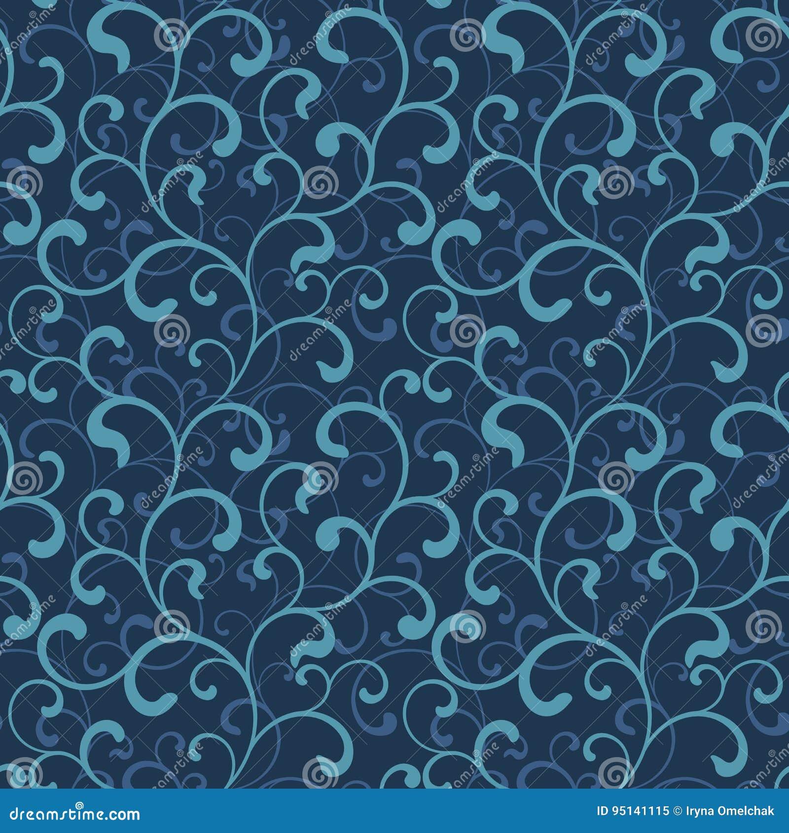 Nahtloses Muster von Strudeln auf einem dunkelblauen Hintergrund Seeart
