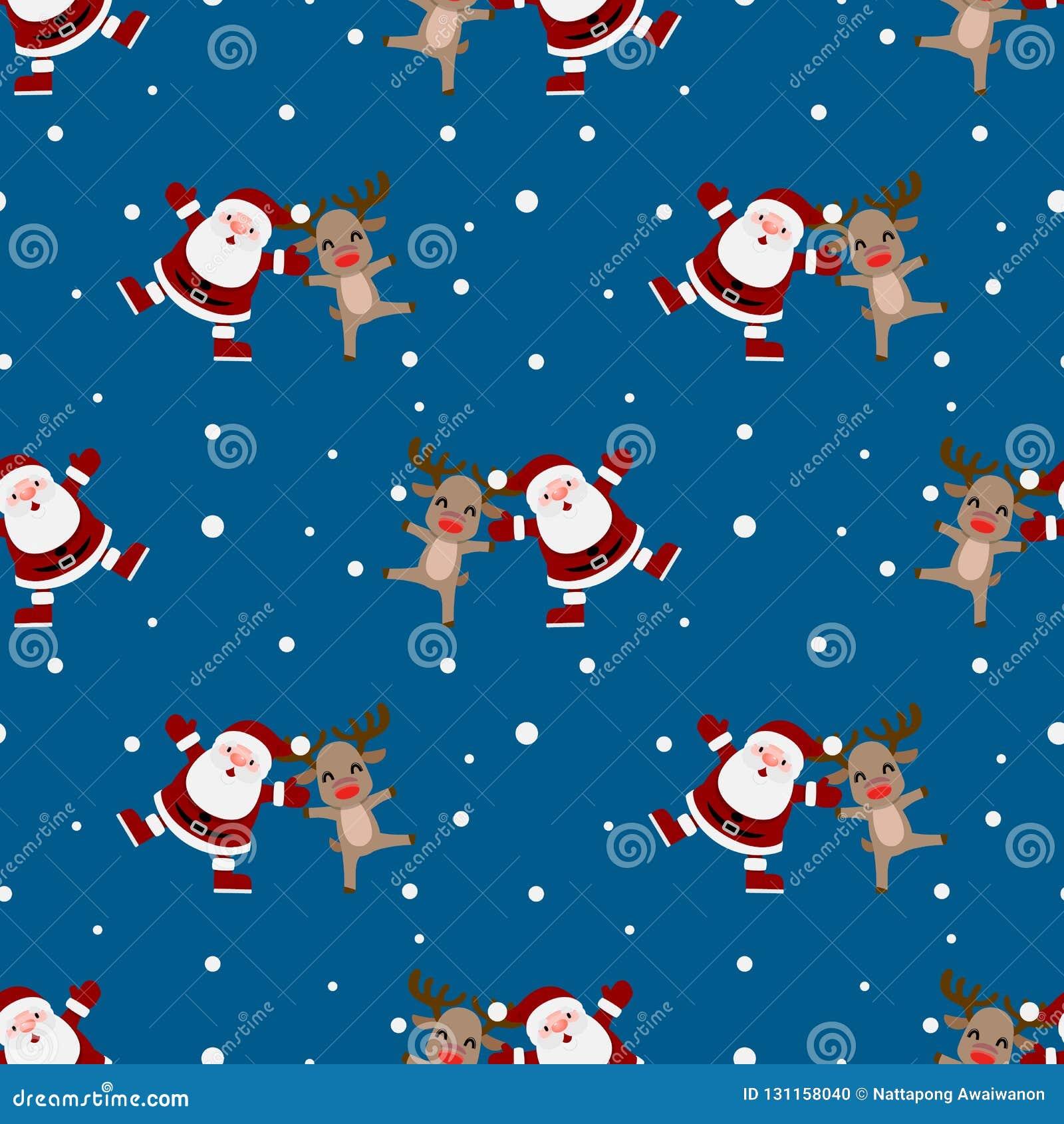 Nahtloses Muster von Weihnachten Weihnachtsmann und von Rudolph-Ren wiederholbar, ununterbrochener Hintergrund für Feiertagsfeier