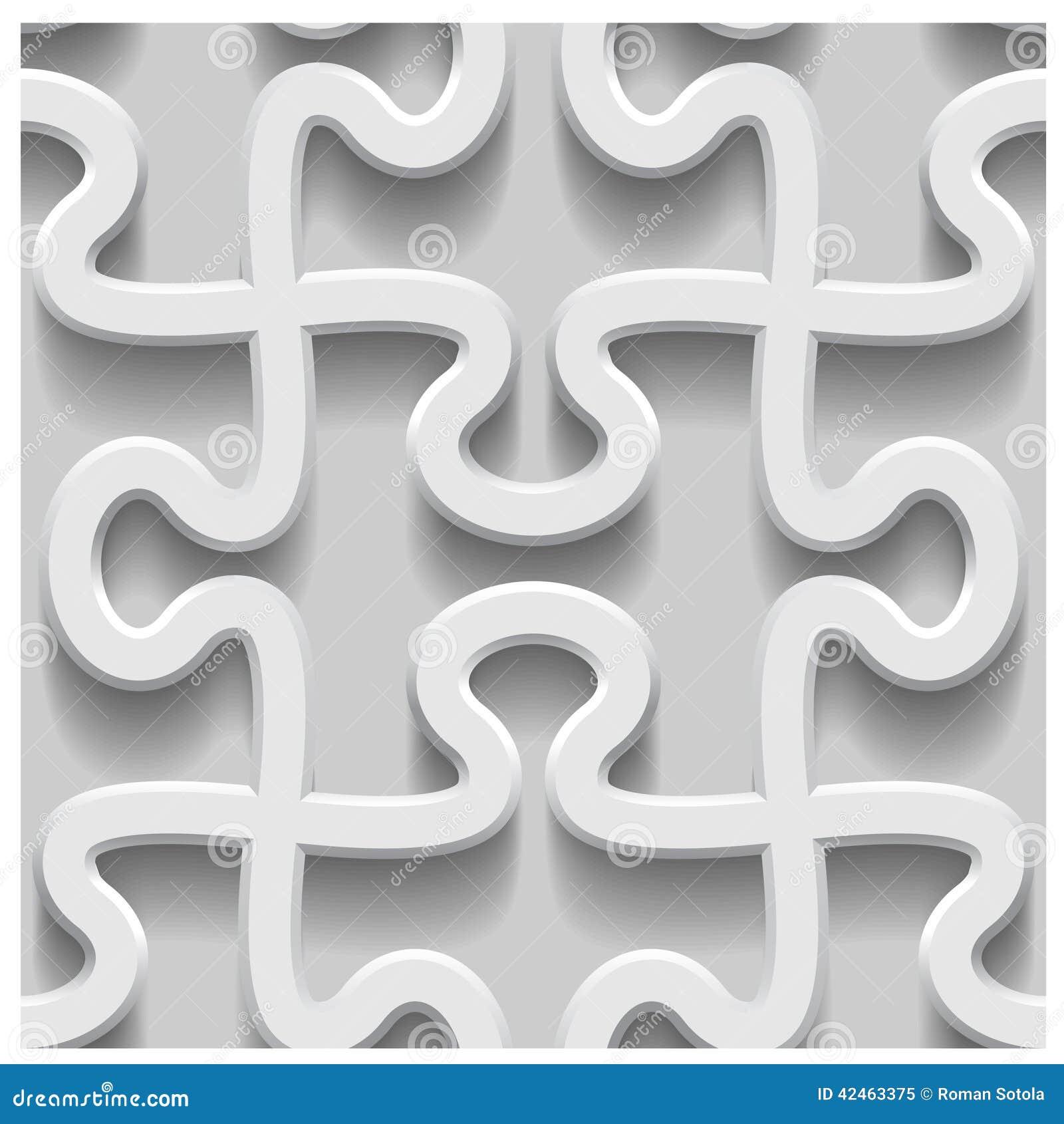 Nahtloses Papiermuster des Puzzlespiels 3d