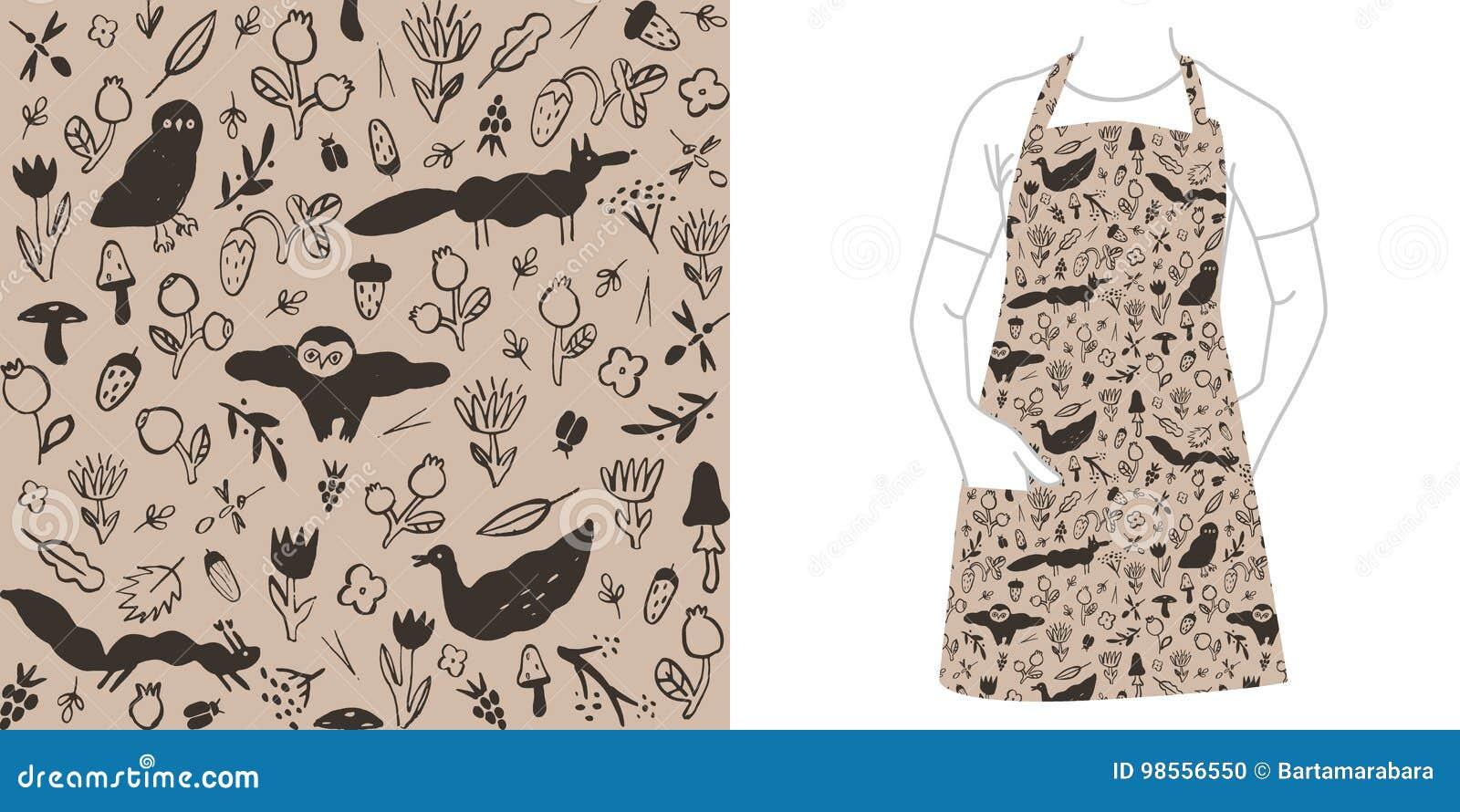 Nahtloses schwarzes Muster mit wilden Tieren, Blumen, Beeren, Pilzen und Insekten
