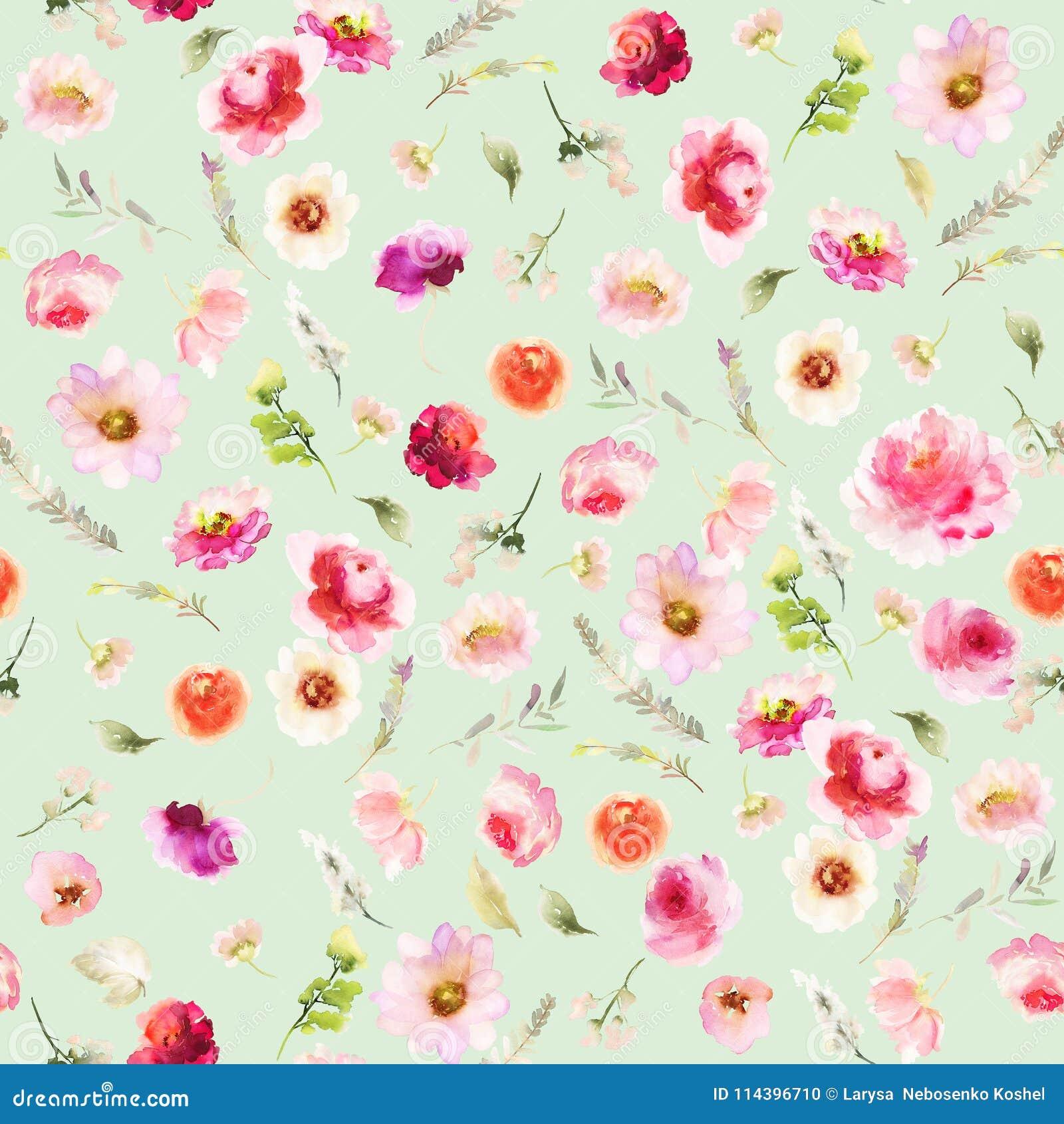 Nahtloses Sommermuster mit Aquarellblumen