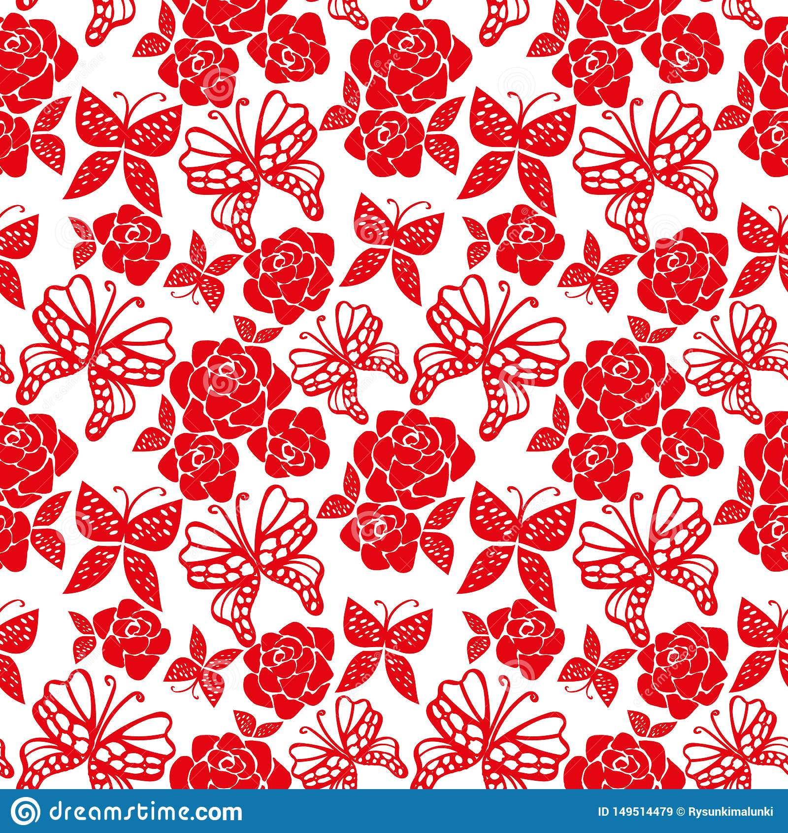 Nahtloses Vektormuster mit roten Rosen und Schmetterlingen auf weißem Hintergrund