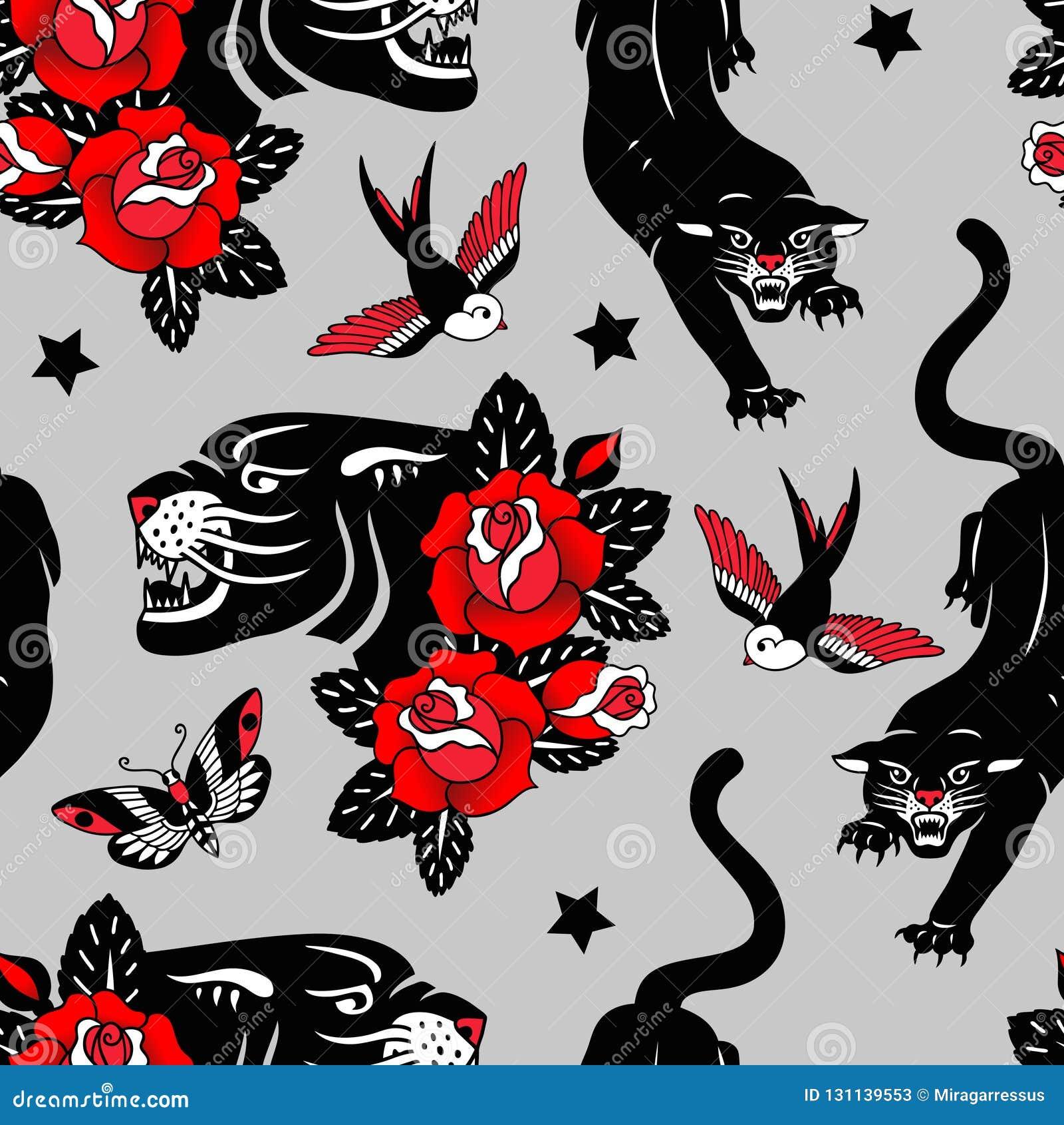 Nahtloses Vektormuster mit Tätowierungsrosen, schwarzen Panthern, Vögeln und Schmetterlingen auf grauem Hintergrund