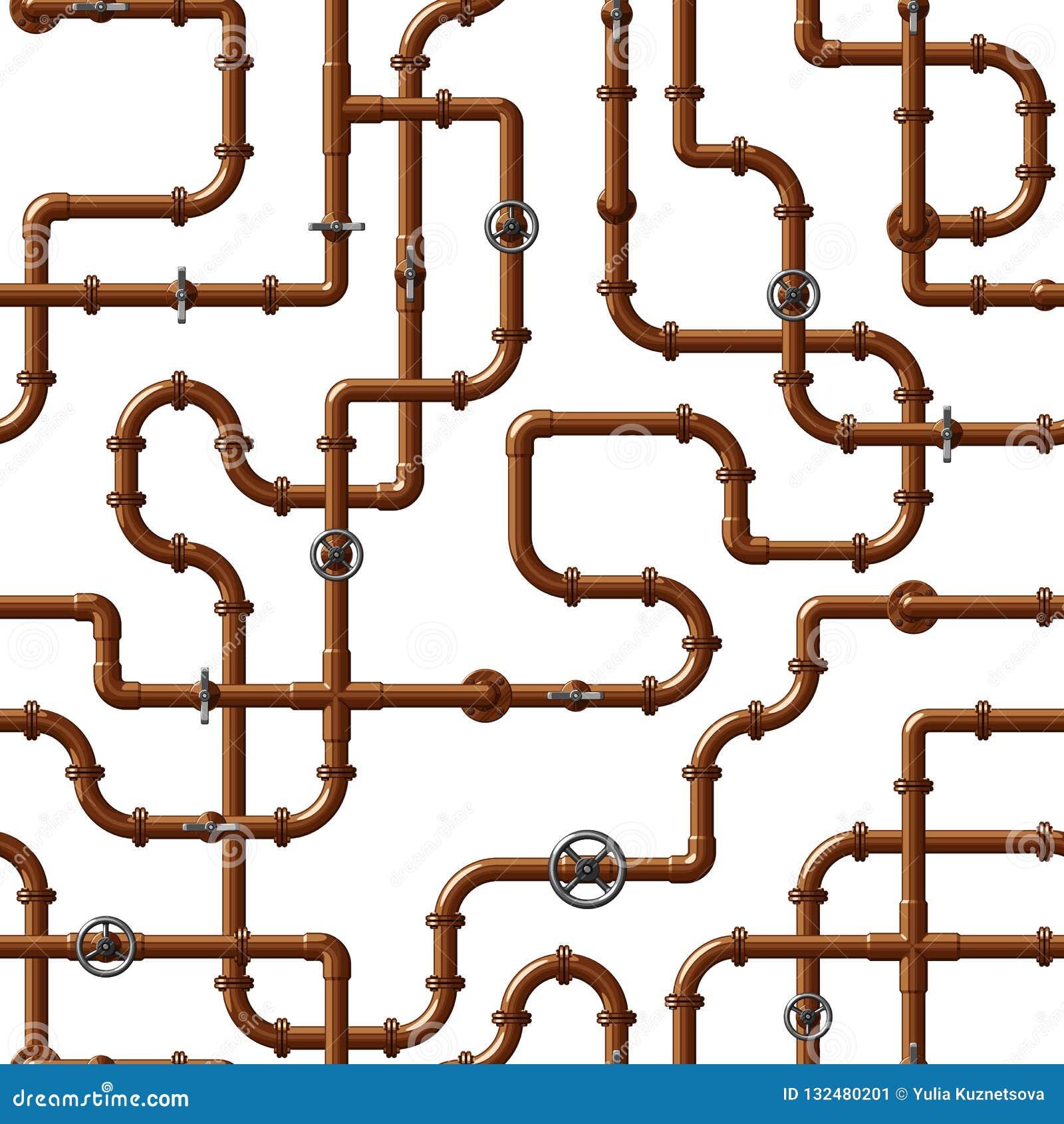 Nahtloses Vektormuster von ineinandergreifenden kupfernen Wasserleitungen mit Ventilen