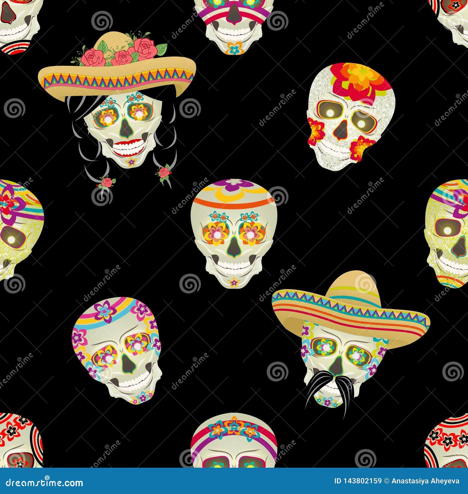 Nahtloses vektormuster Zuckersch?del Männlicher mexikanischer schwarzer Schnurrbart mit dem schwarzen Haar erfasst in den Zöpfen