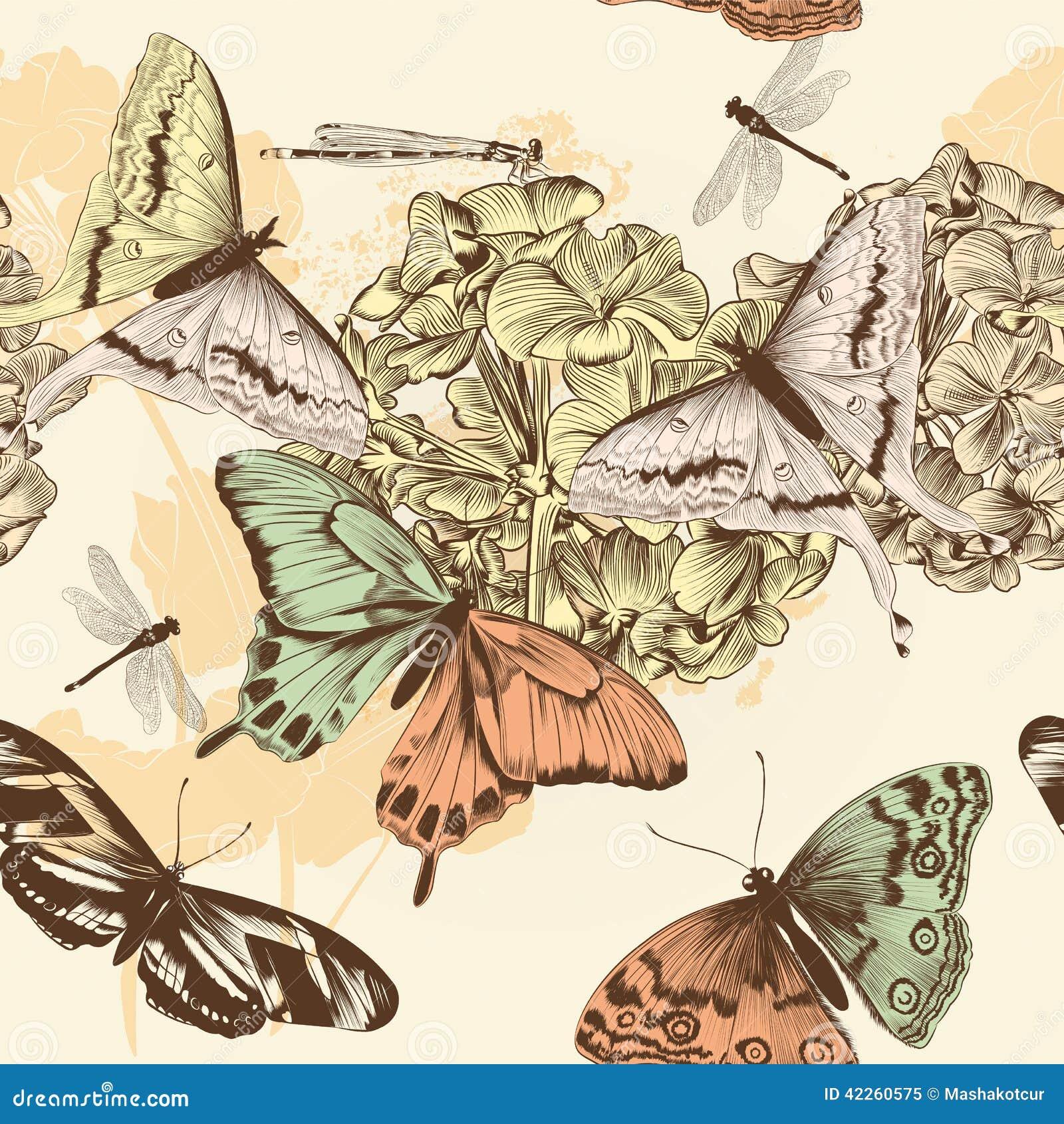 Nahtloses Vektortapetenmuster mit Schmetterlingen in Weinlesest.