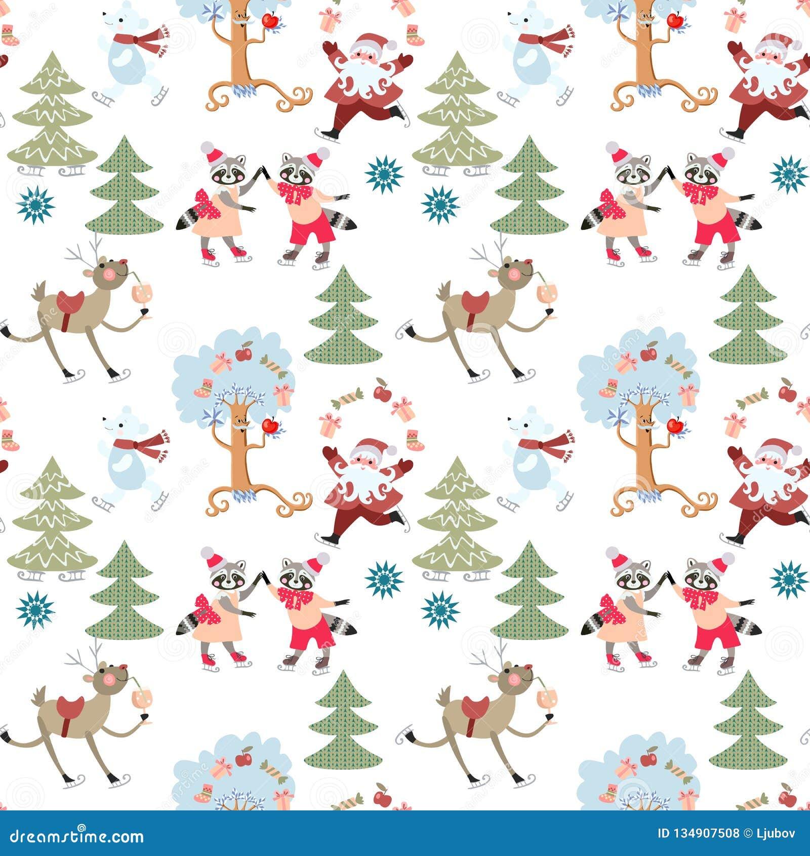 Nahtloses Weihnachtsmuster mit Ren Rudolph, Santa Claus, nette Waschbären und Eisbären im feenhaften Winterwald