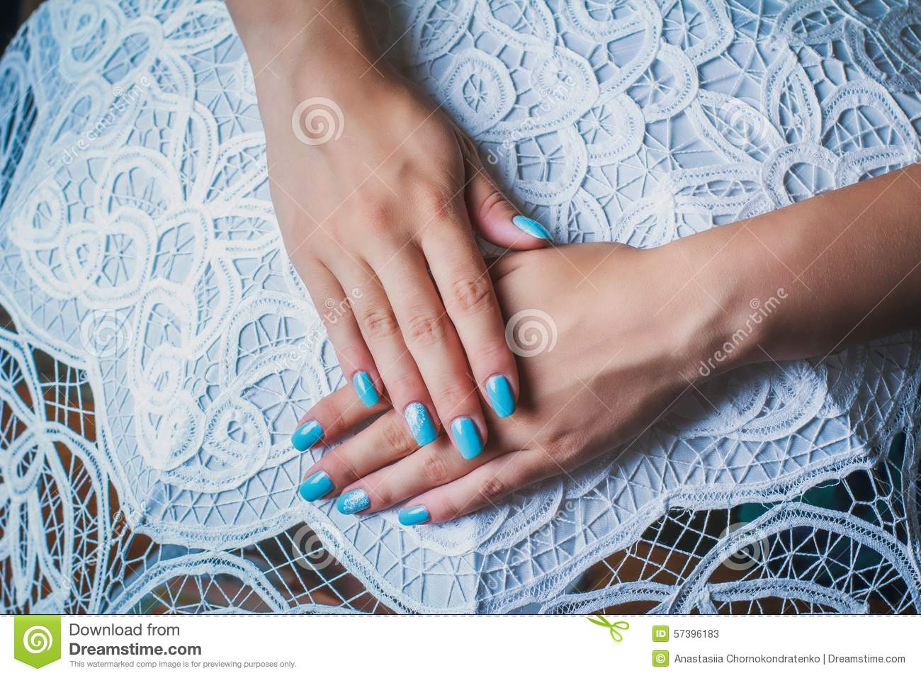 Nail Art With Blue Background And White Lace Stock Image - Image of ...