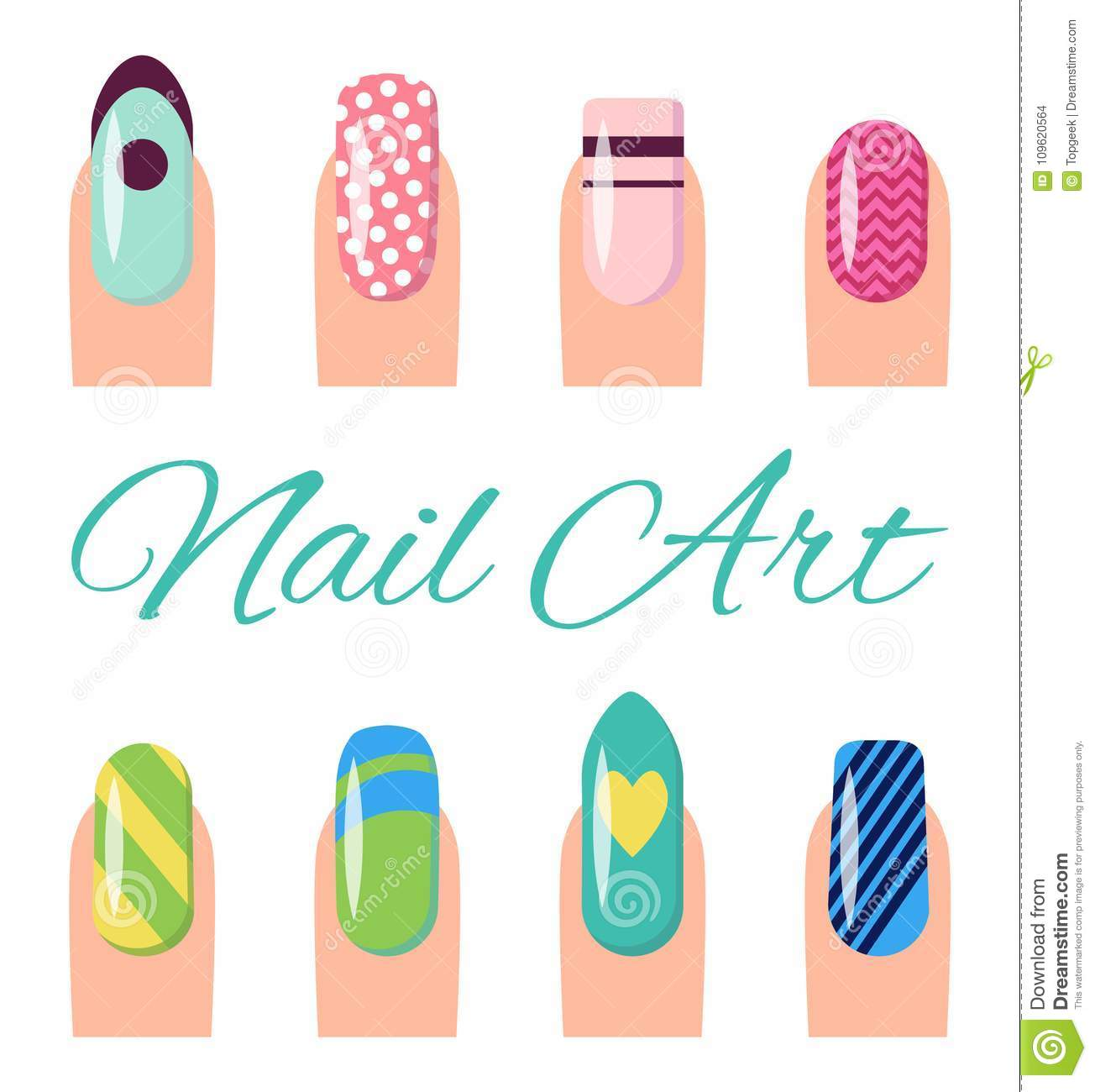 Nail Art Collection Poster Vector Illustration Stock Vector