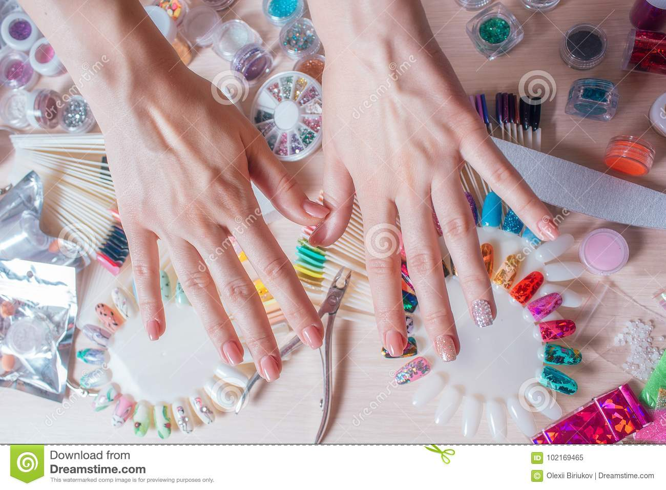 Nail Art Concept Woman Making Decoration On The Nails On White