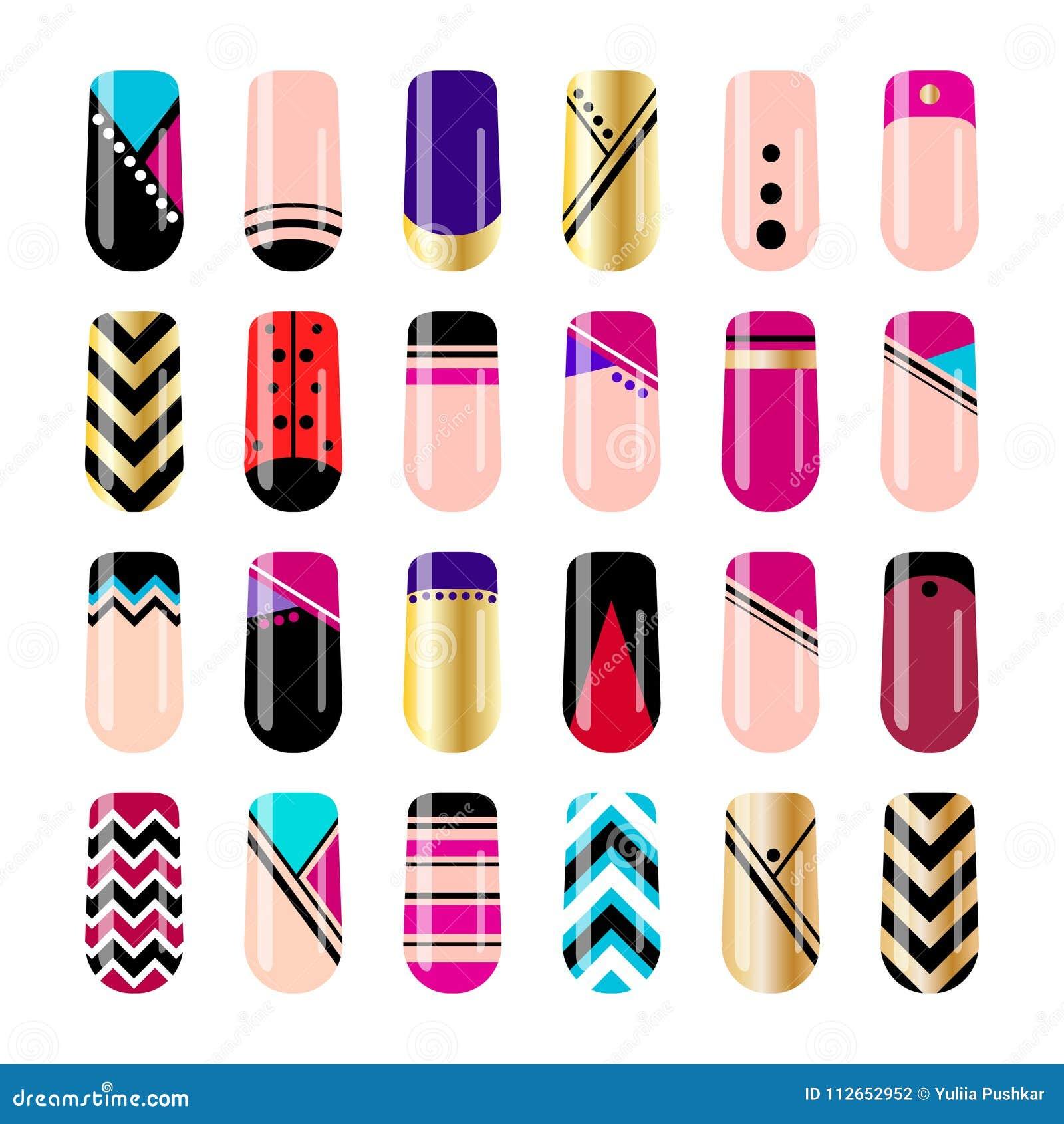 Nail Art Design Geometric Nail Stickers Template Stock Vector