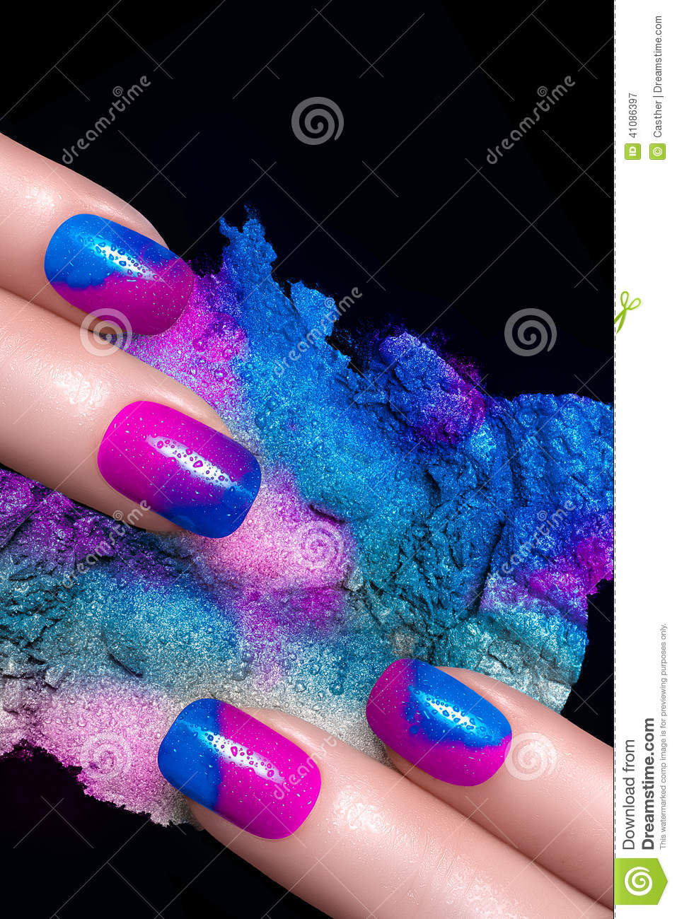 nail art fingers with luxury nails and crushed eye shadow with drops