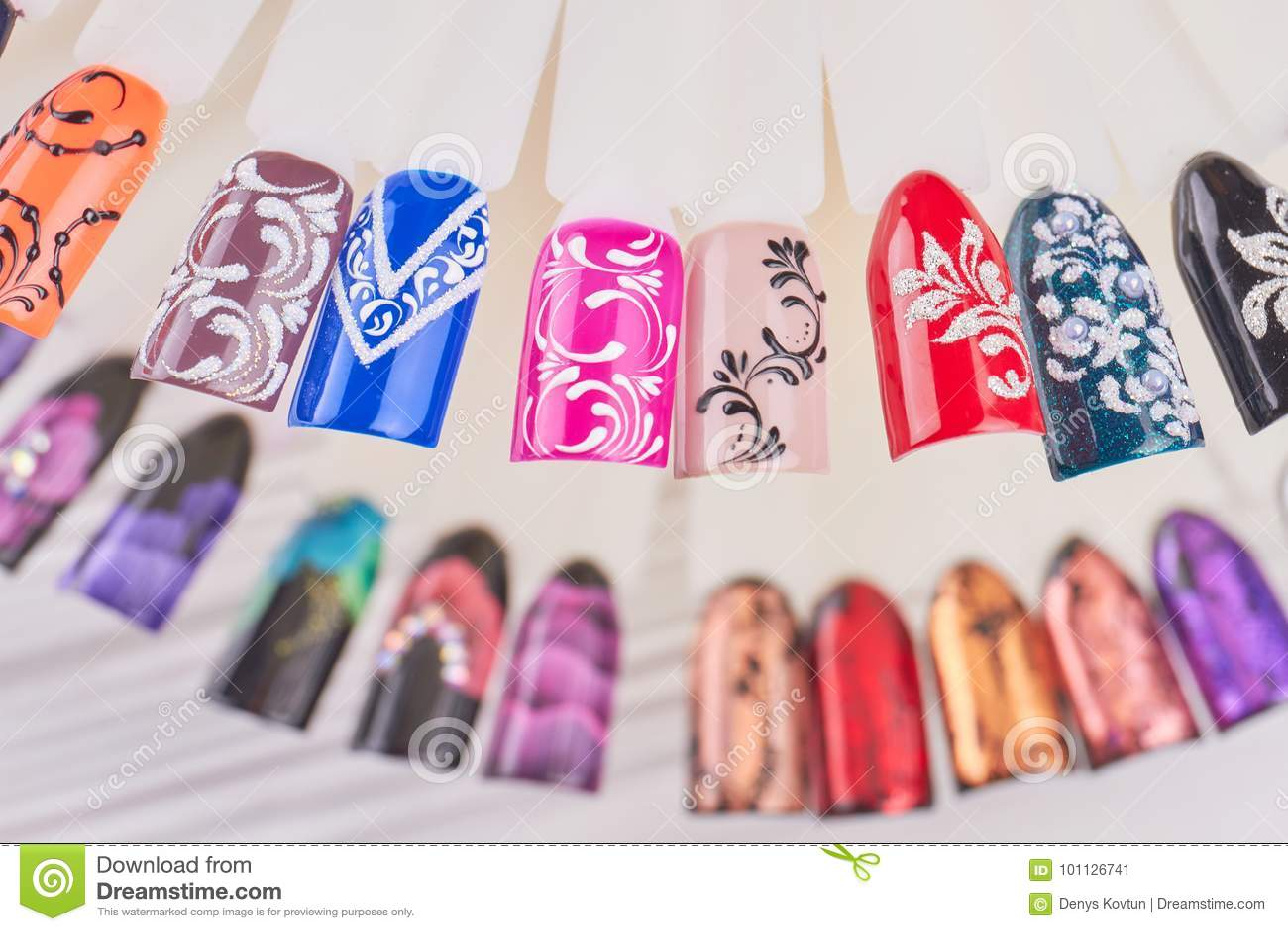 Nail art handmade samples. stock image. Image of glitter - 101126741