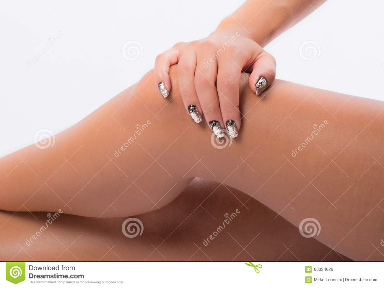Nail Art And Legs Stock Photo Image Of Fingers Thighs 60334626