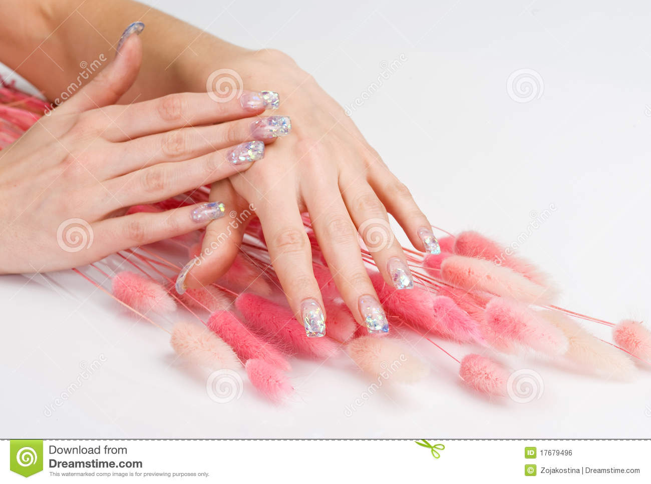Nail Art And Pink Decoration Spikes Stock Photo Image Of Glitter