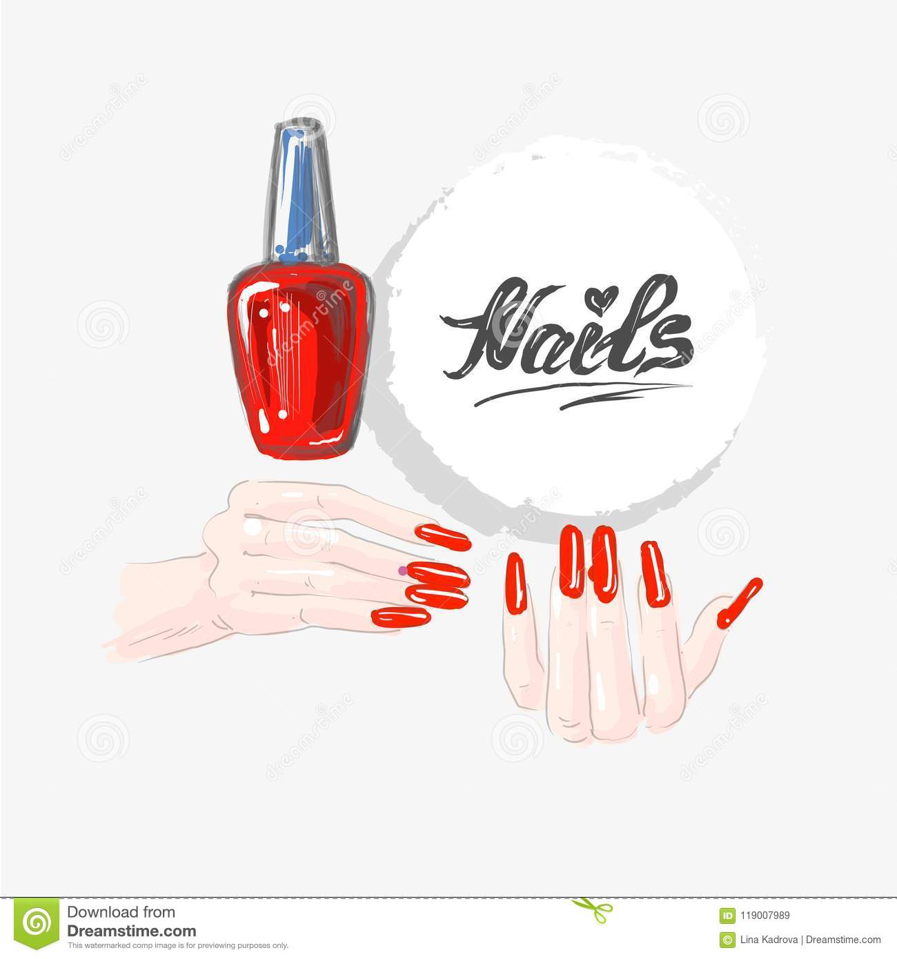 Nail Art And Red Nail Polish Beautiful Female Hands With Red Nails