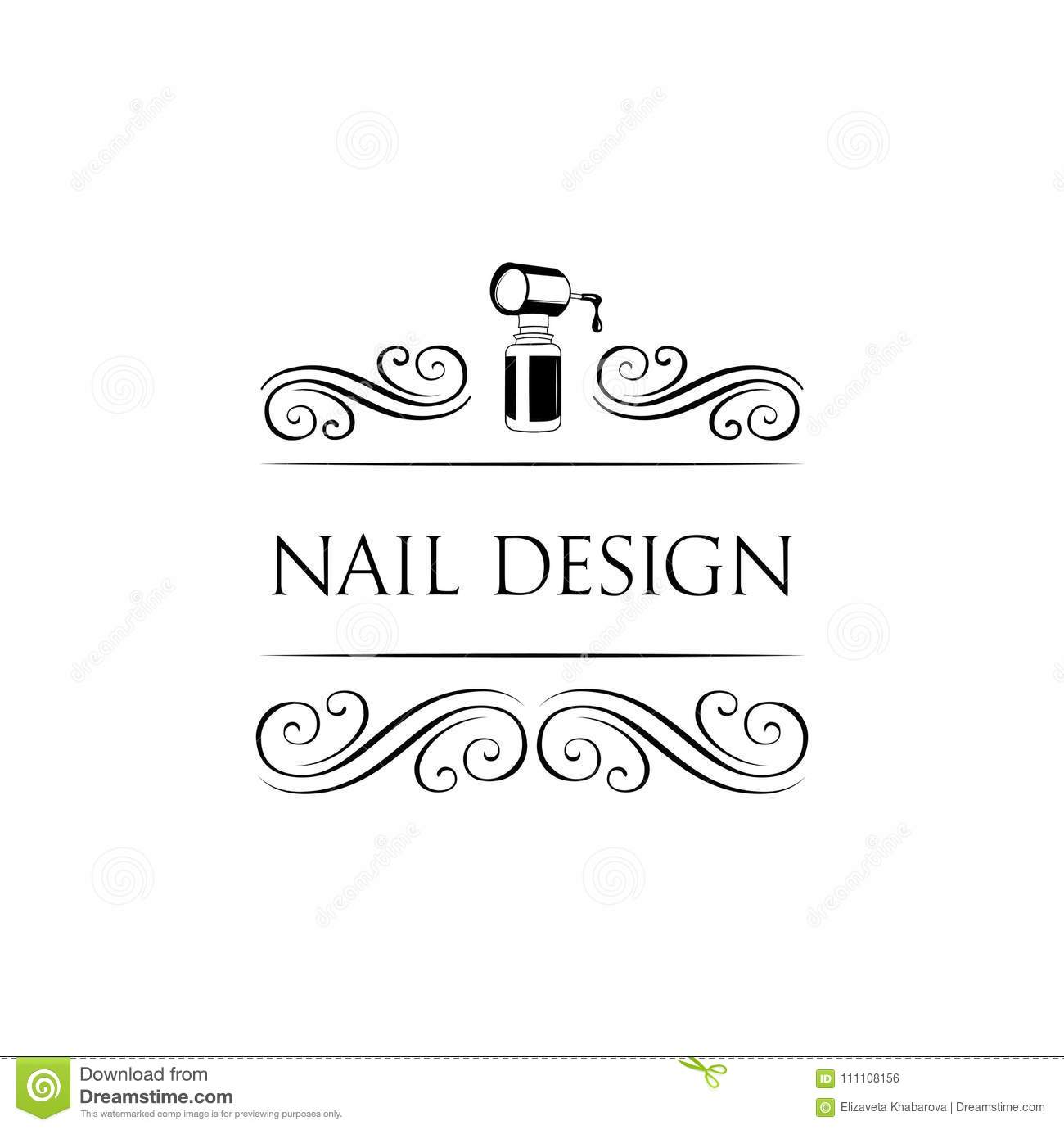 Nail Art Studio Template For Logo Nail Polish Icon Vector