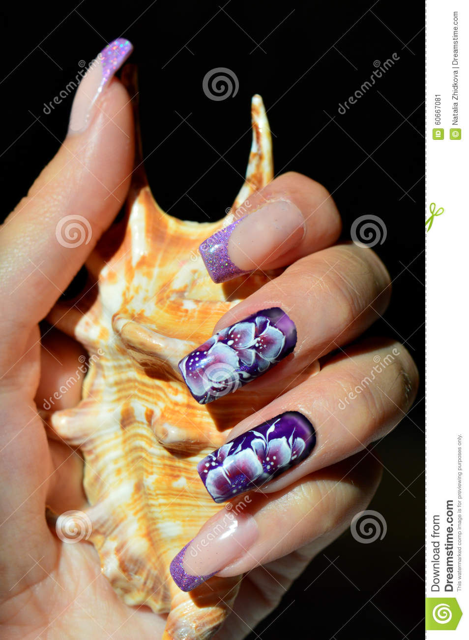 Nail Design Chinese Painting Stock Image Image Of Purple Lilac