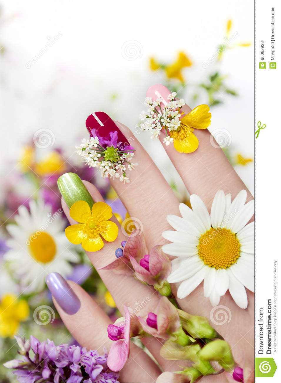 Nail design with flowers and colored lacquer on a woman