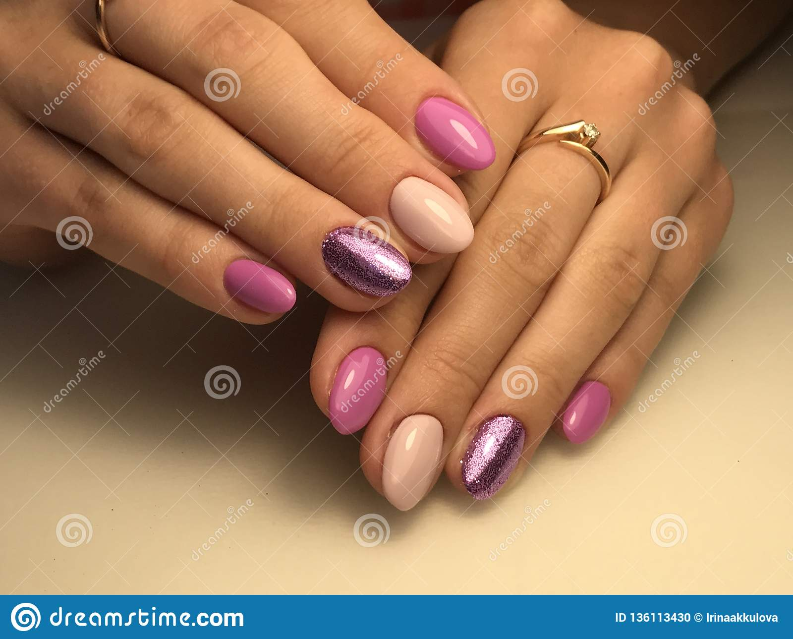 Nail Design Ideas Stock Photo Image Of Hand Pink