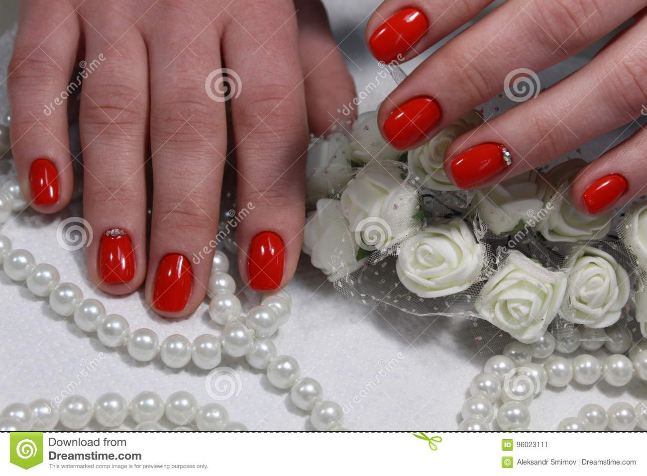 Nail Design With White Flower And Beads Stock Image Image Of Nails