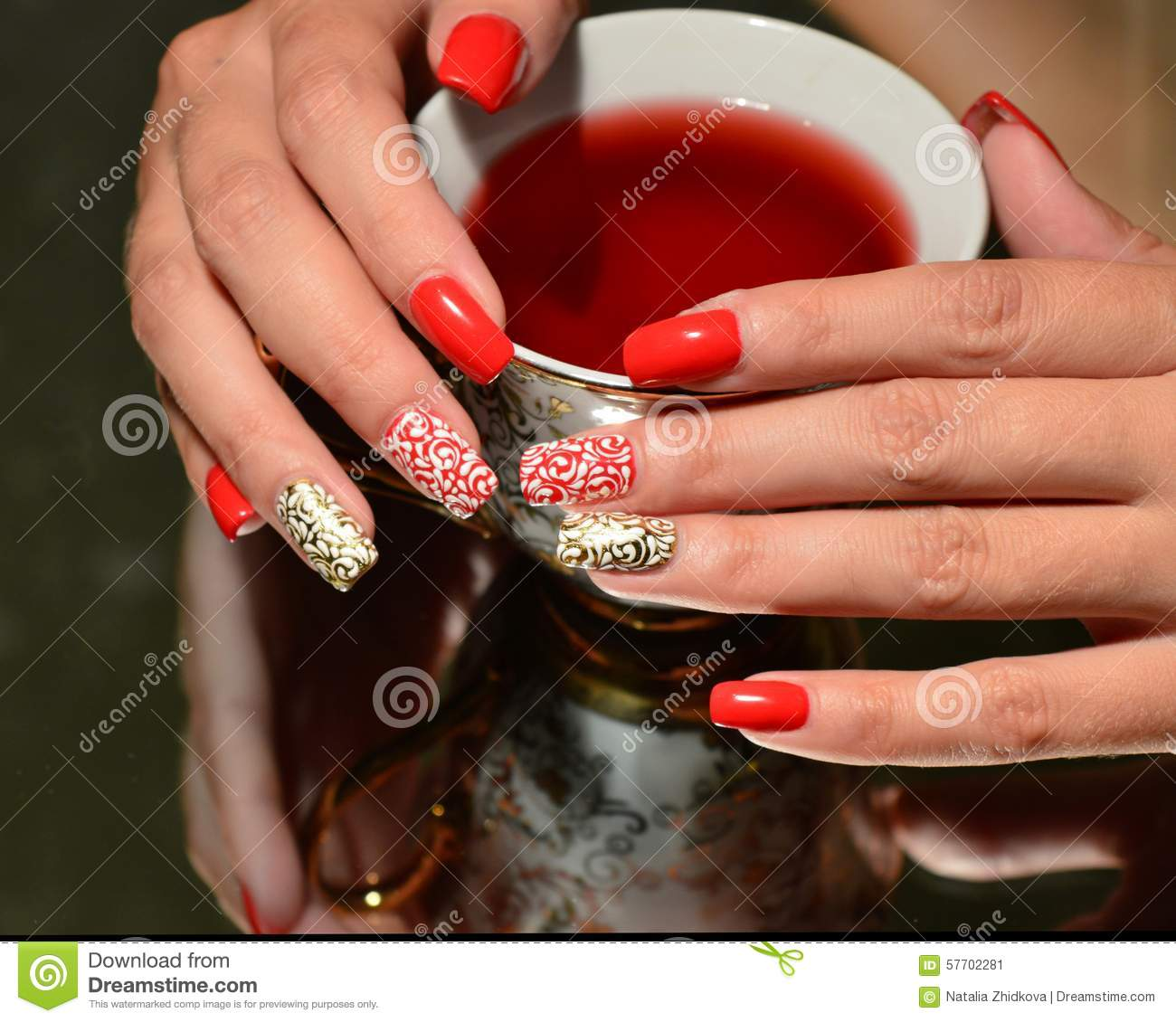 Nail Design White On Red White On Gold Stock Image Image Of