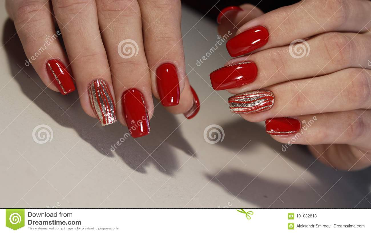 Nail Designs With Different Sequins In The Shape Of Hearts On Red