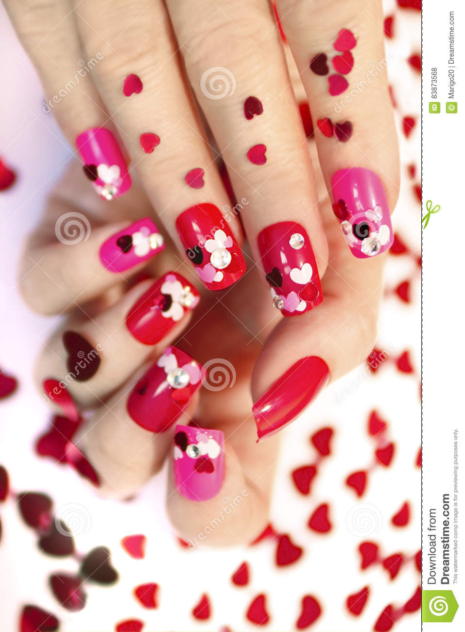 Nail designs with hearts.