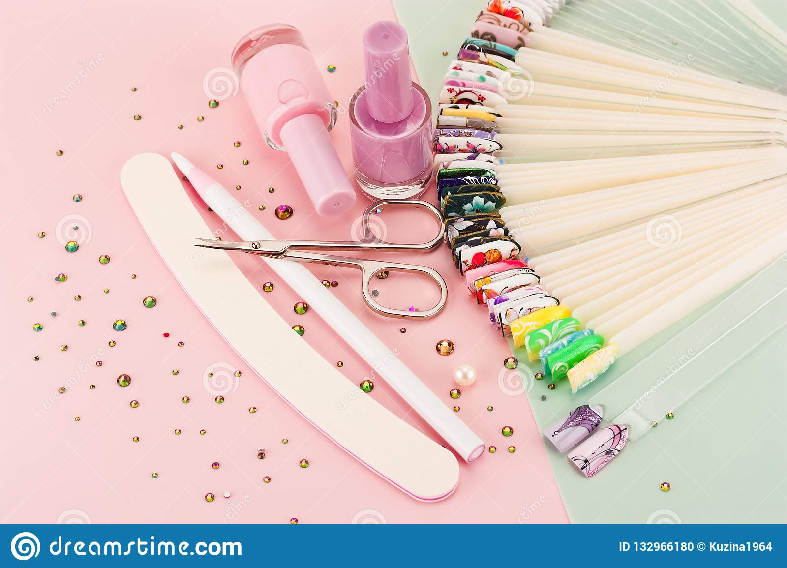 Nail designs on tips and manicure set