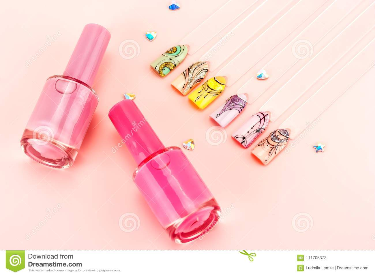 Nail designs on tips.