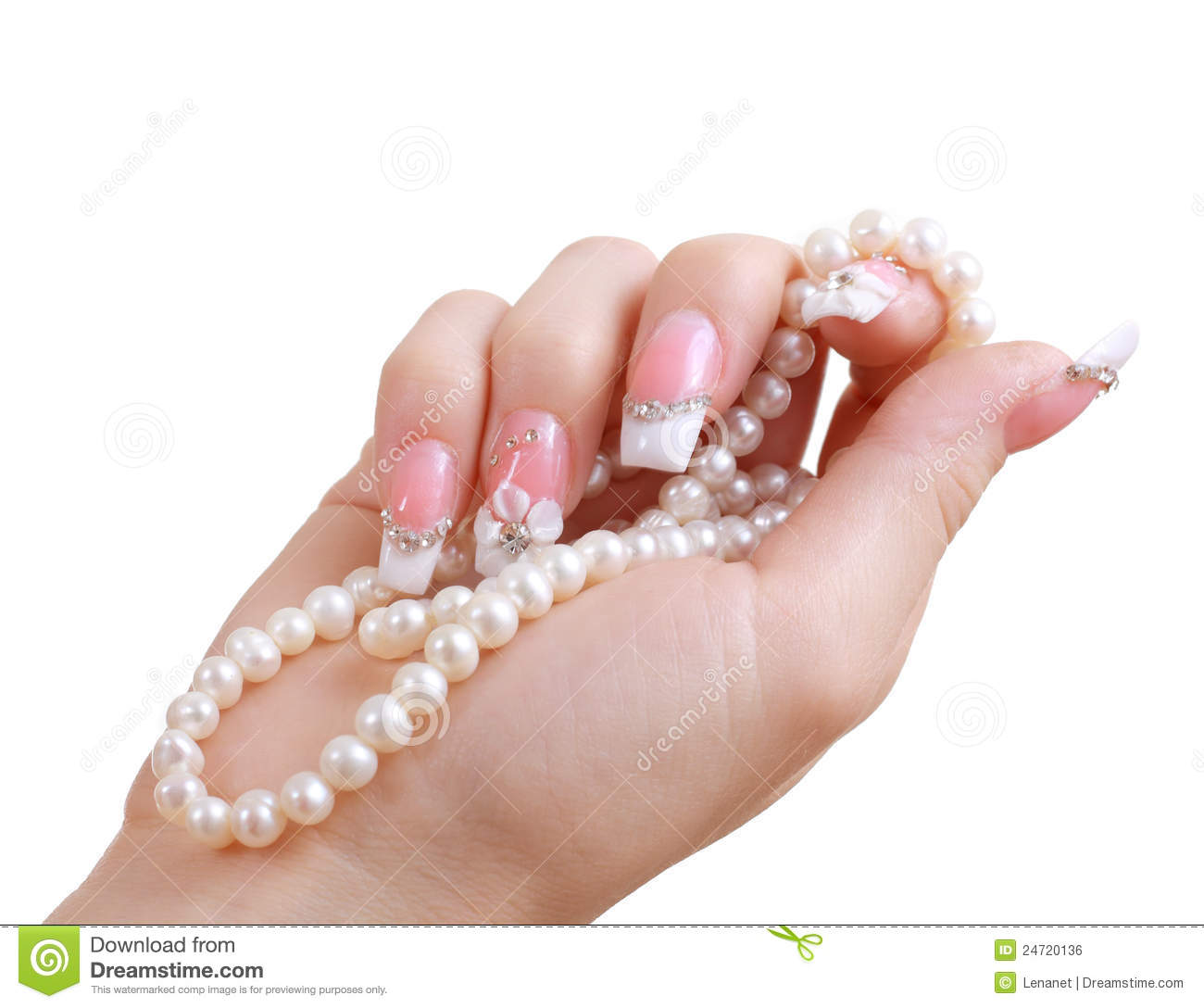 Hands With Beautiful Manicured Nails Holding Pearl Necklace Stock ...