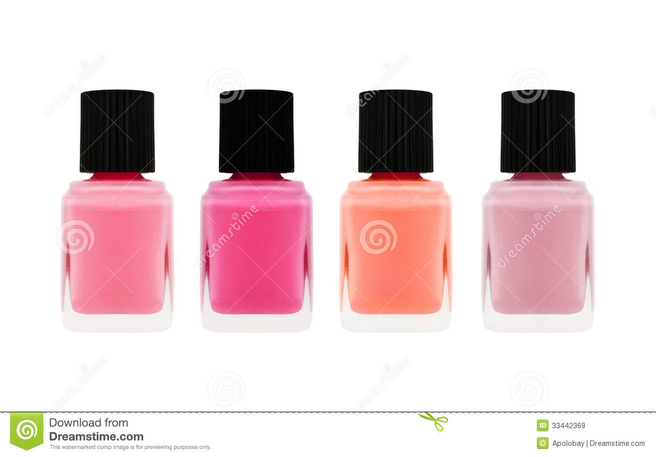 Nail Polish Bottle Of Different Colors Isolated On White ...