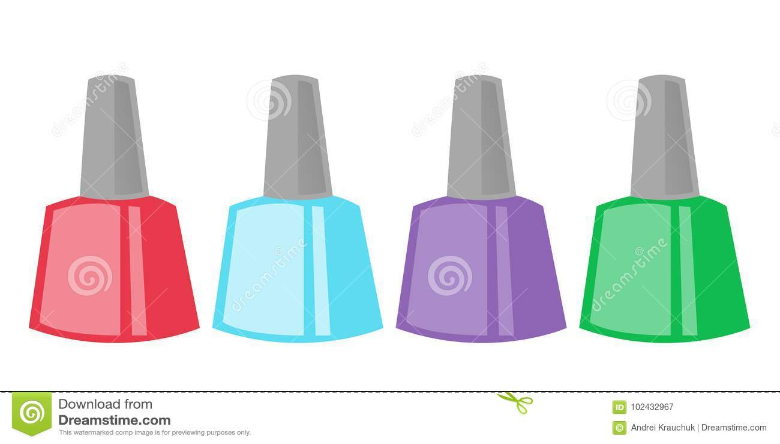 Nail Polish Bottles Vector Cartoon Illustration. Stock Vector ...