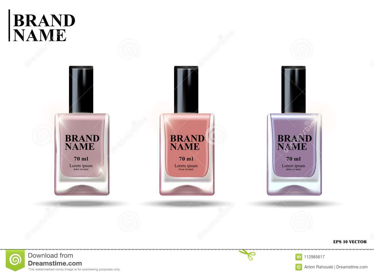 Nail polish, collection of transparent glass bottles with purple and pink nail varnish on white background