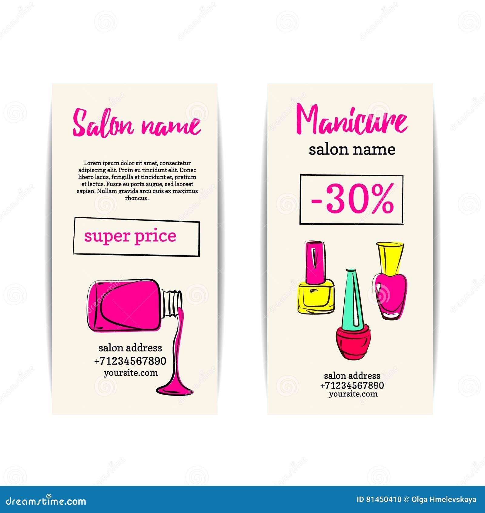 Nail Polish Colorful Coupon Flyer Set Stock Illustration ...