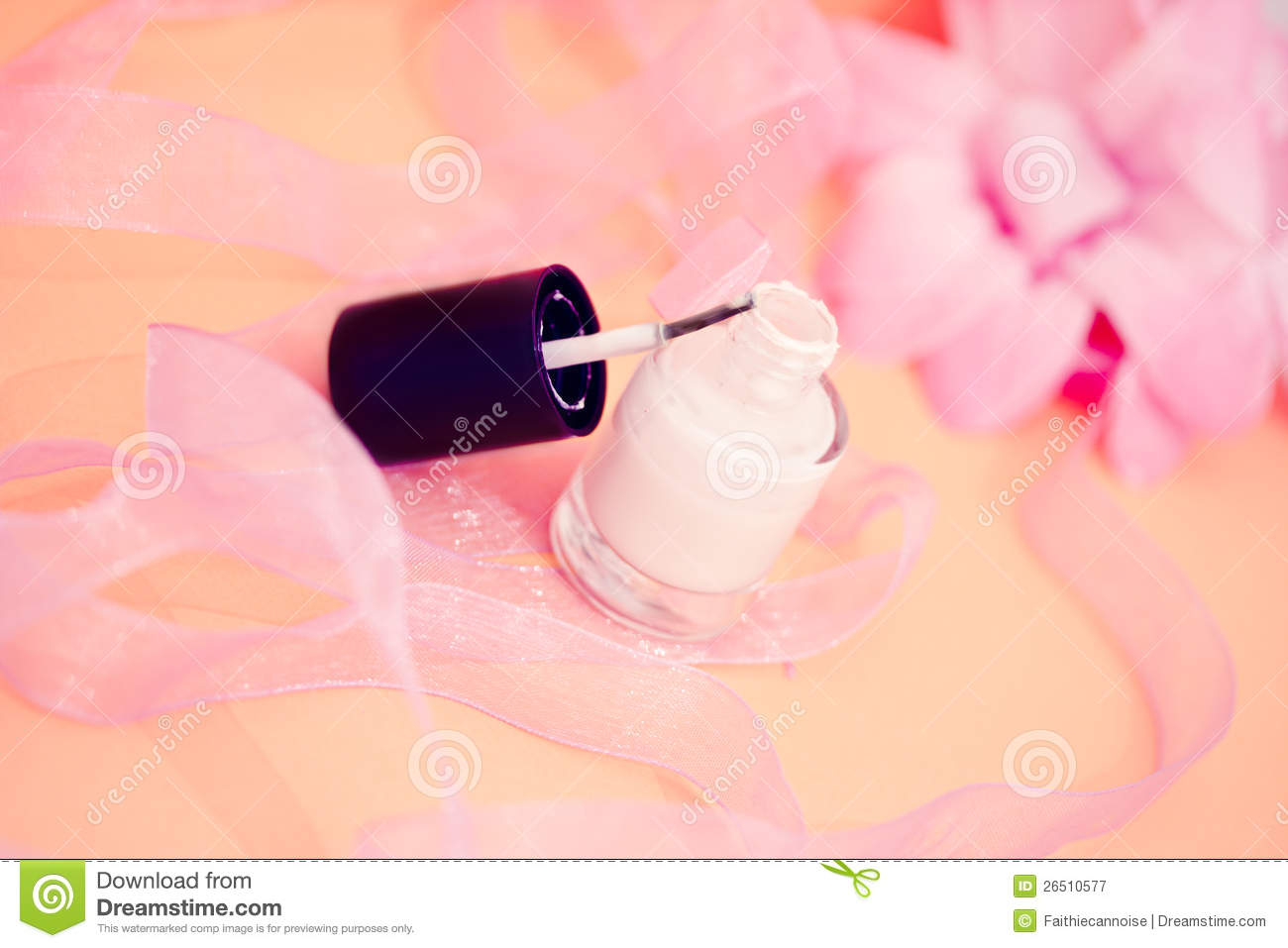 Nail Polish Colors And Flower Cosmetics And Spa Royalty Free Stock grap