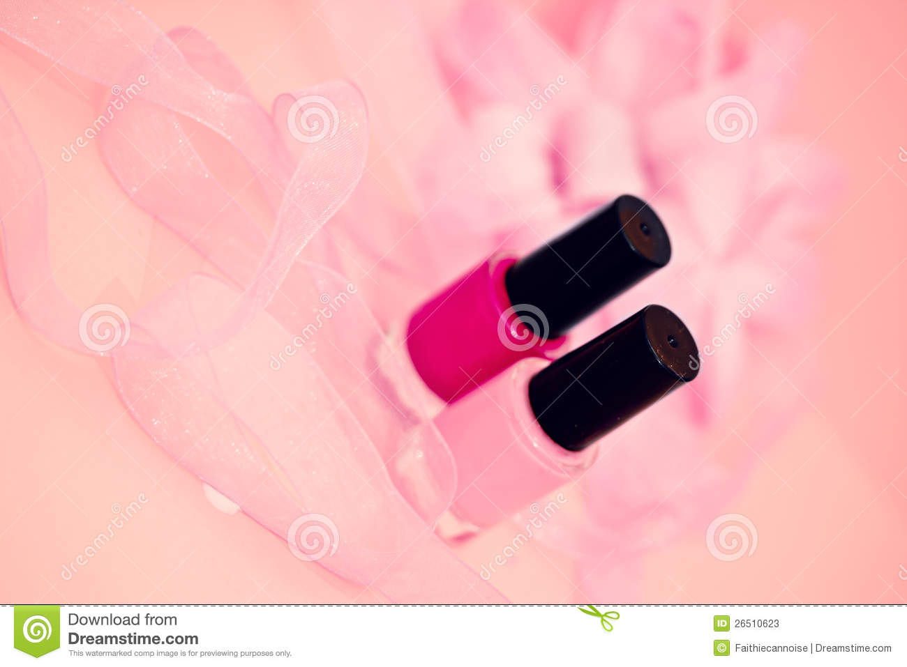 Nail Polish Colors And Flower Cosmetics And Spa Stock s Image