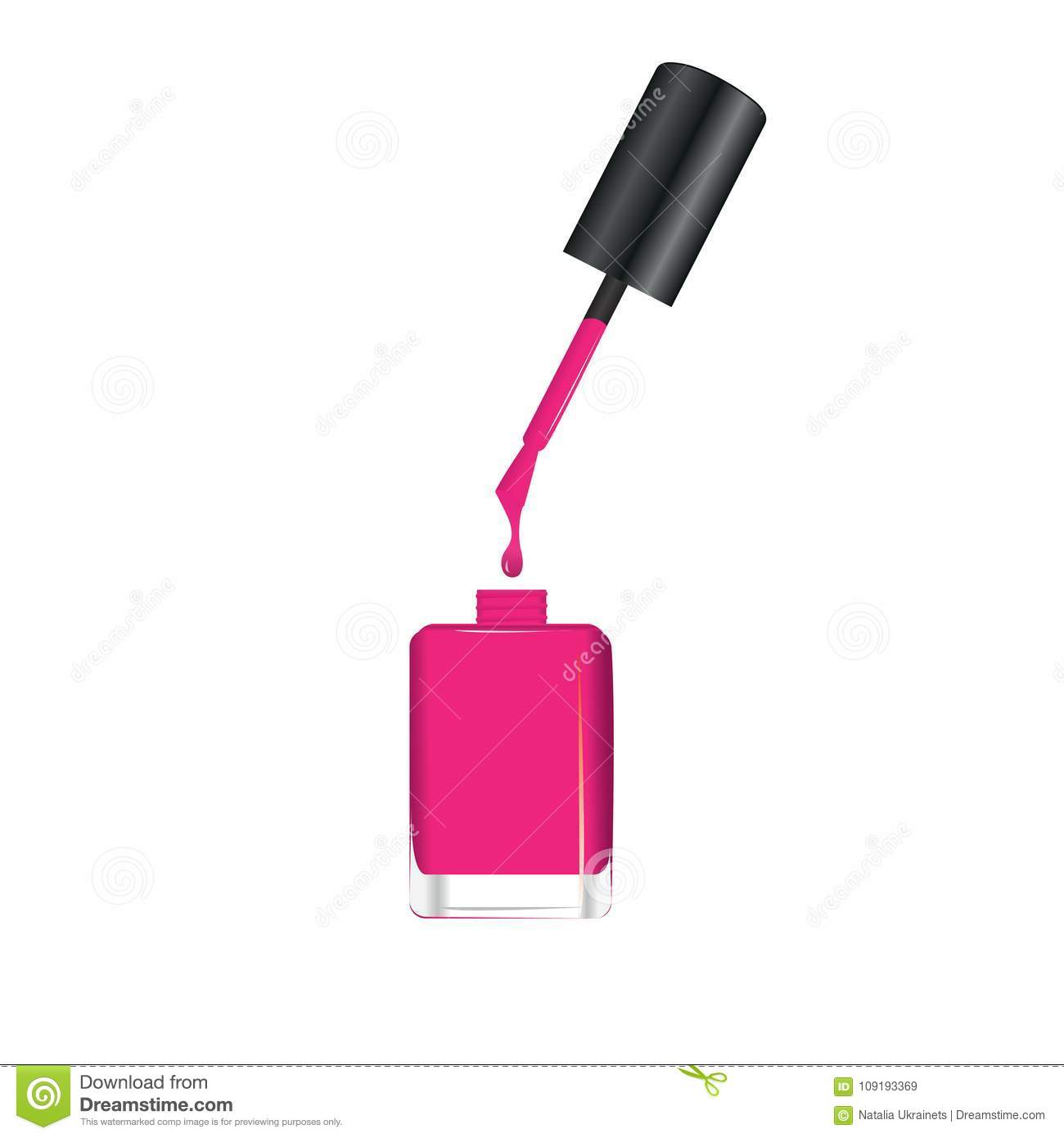 Nail Polish Dripping From Brush Into Bottle Stock Vector ...