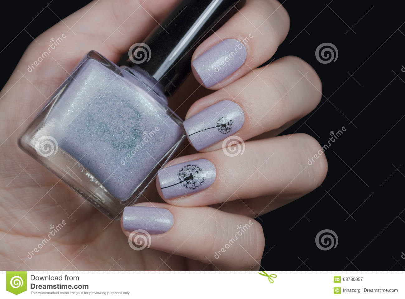Nail Polish In A Hand On A Black Background. Gentle Nail Art With ...