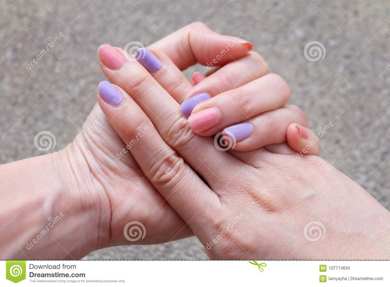 Nail Polish Manicure. Beautiful Woman Is Hands On Pink And Violet ...