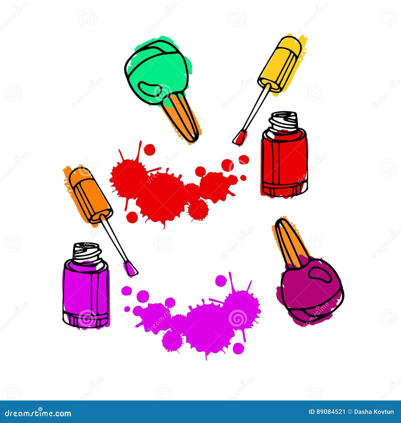 Nail Art Vector: Nail Polish. Nail Polish Drawing. Vector Nail Art Concept