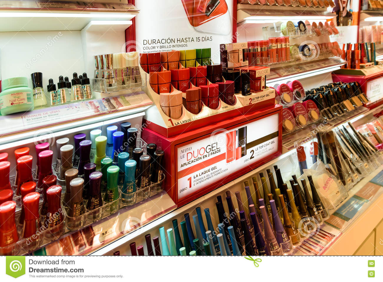 Nail Polish Products For Sale In Beauty Shop Editorial Stock Photo ...