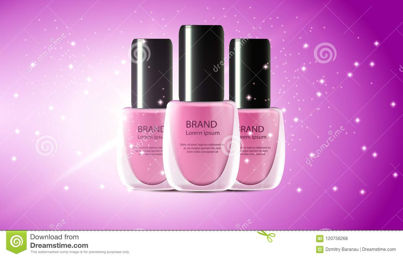 Nail Polish Realistic 3d Makeup Cosmetic Illustration. Manicure And ...