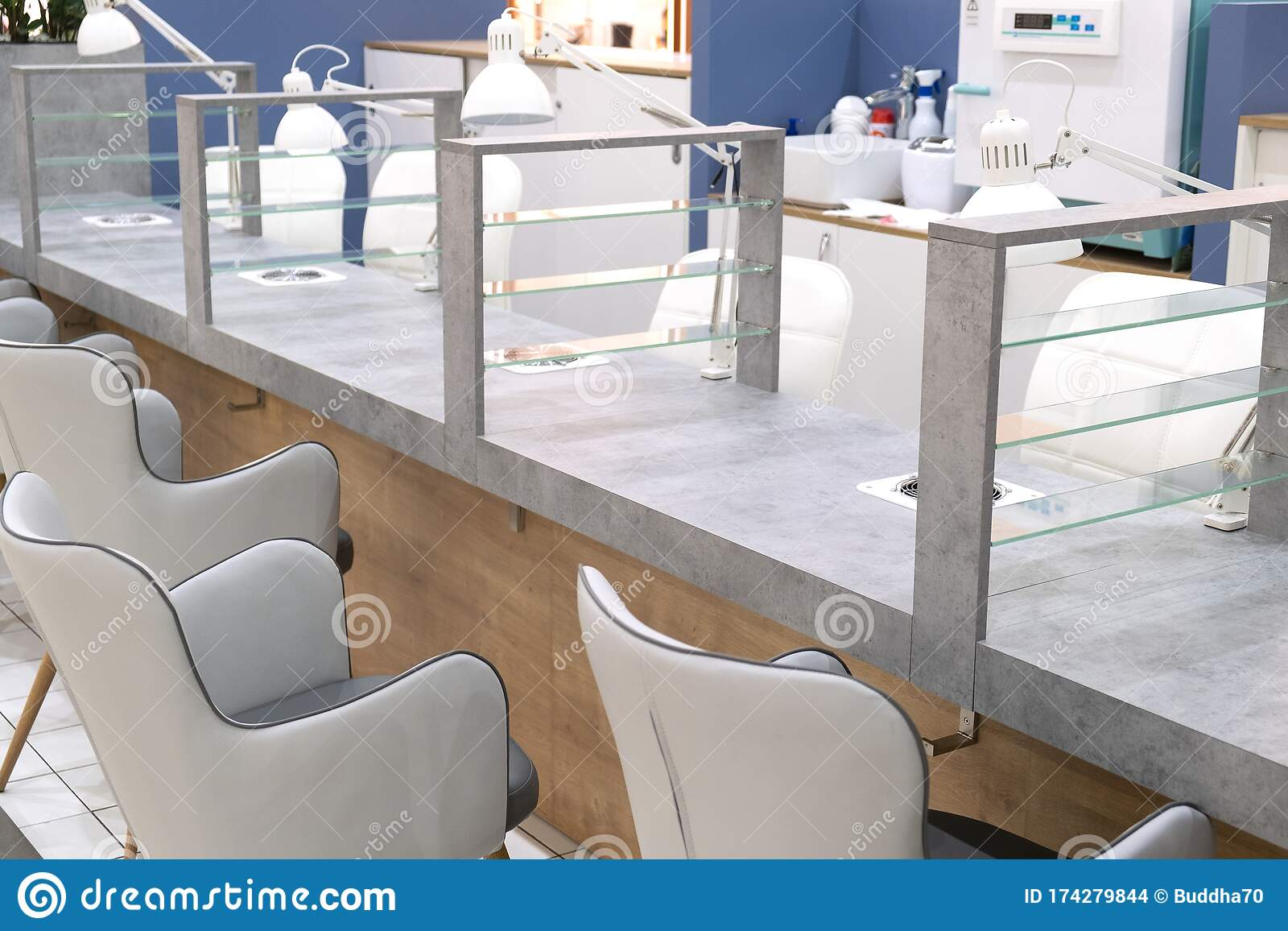 Nail Salon. Chairs And Tables For The Care Of Women`s Hands